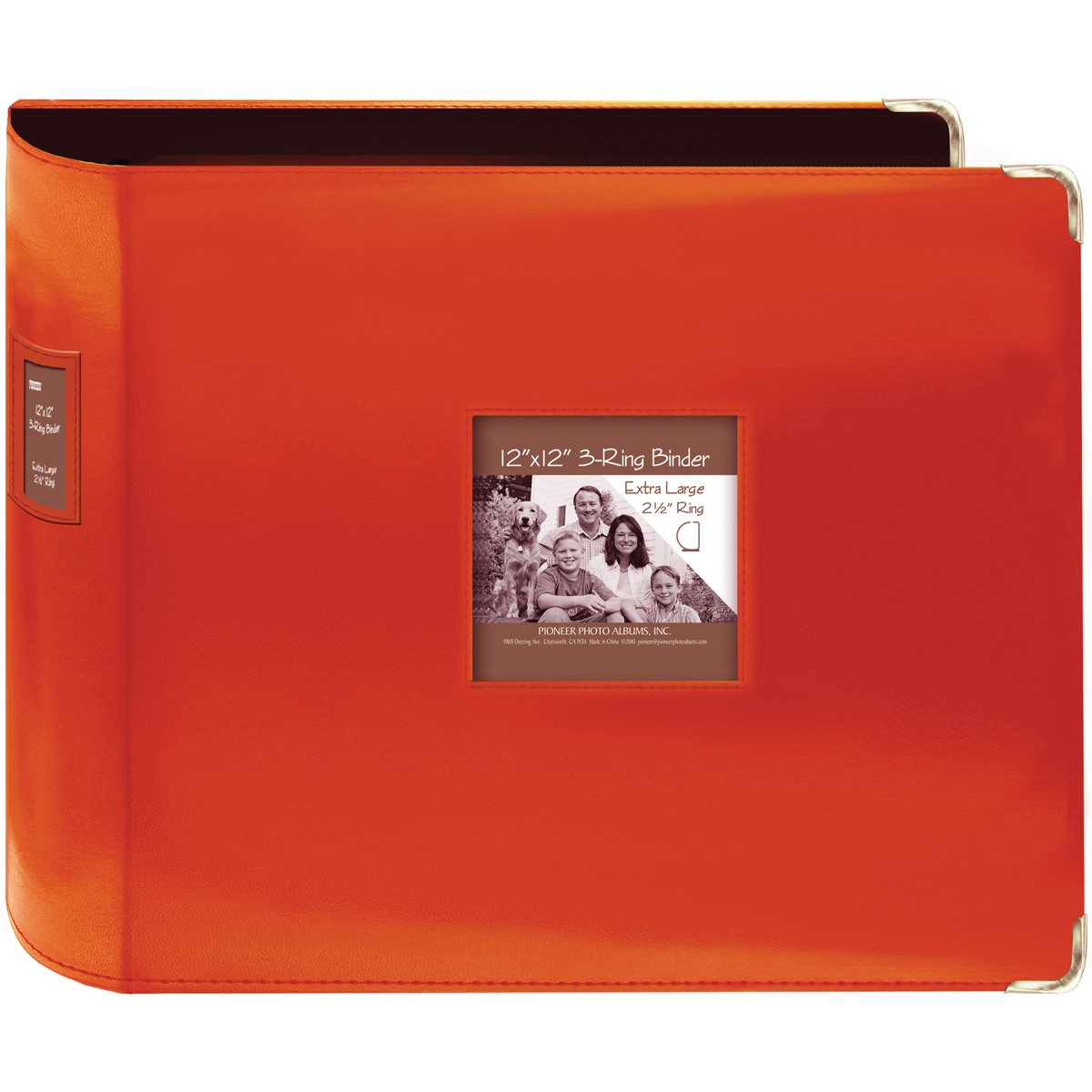 Pioneer 3-Ring Sewn Leatherette Album 12X12-Bright Orange