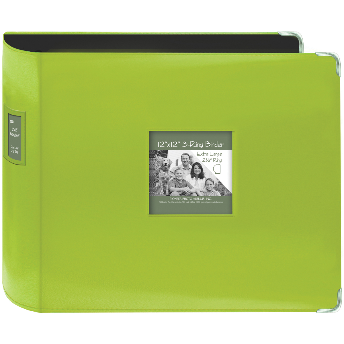 Pioneer 3-Ring Sewn Leatherette Album 12X12-Bright Green