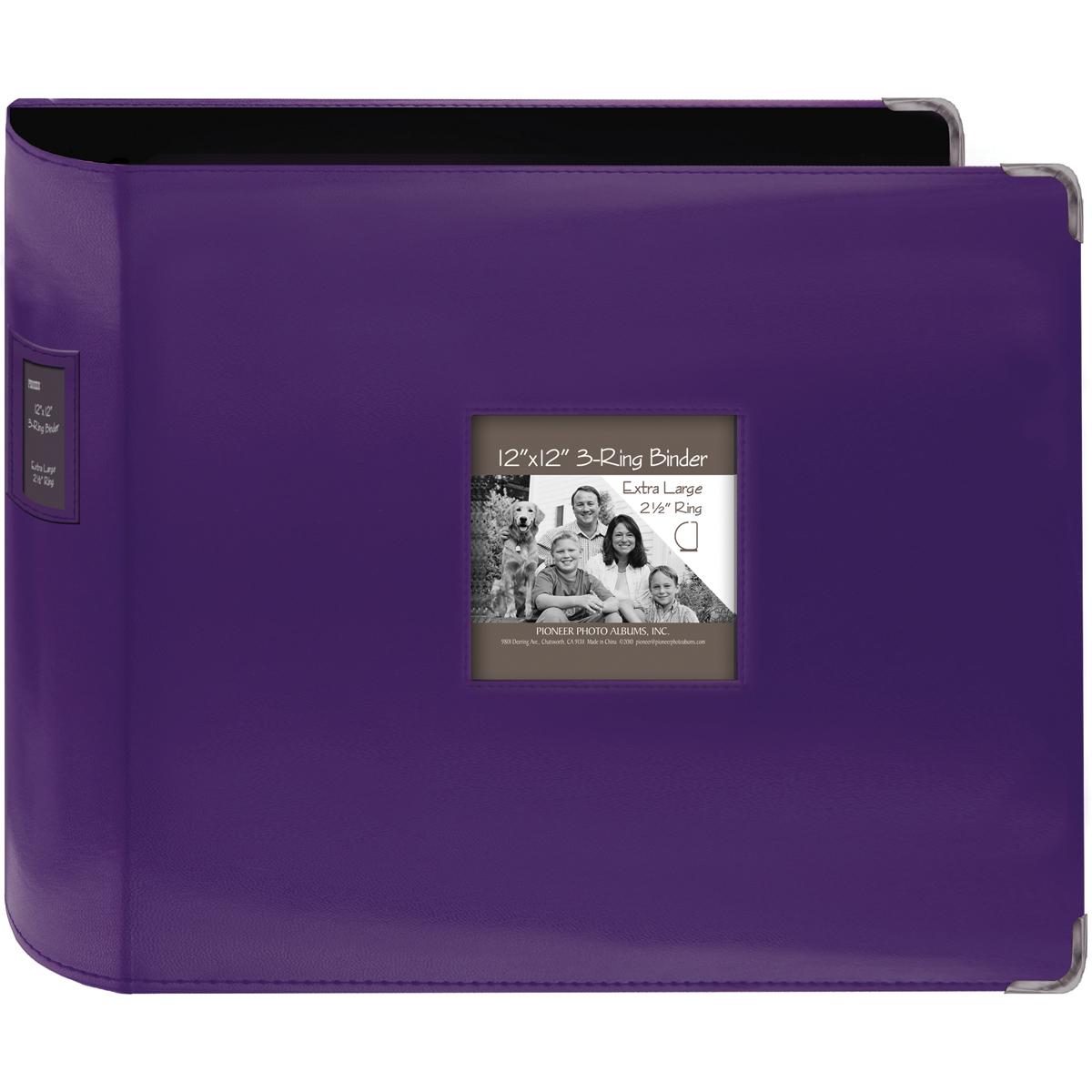 Pioneer 3-Ring Sewn Leatherette Album 12X12-Bright Purple