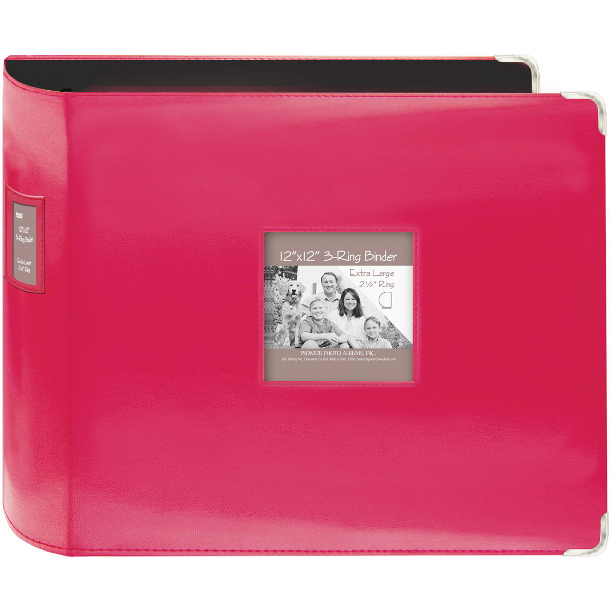 Pioneer 3-Ring Sewn Leatherette Album 12X12-Bright Pink