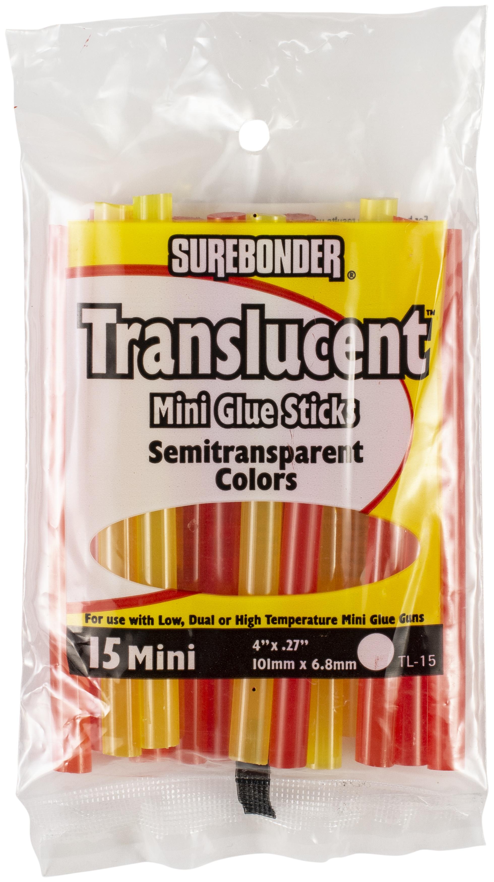 Translucent Mini Glue Sticks-.27X4 15/Pkg Assorted Colors