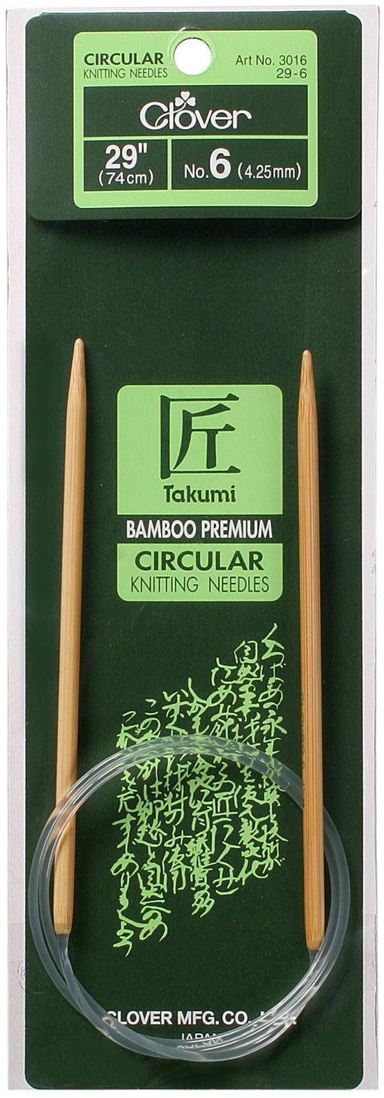 Takumi Bamboo Circular Knitting Needles 29-Size 6/4mm