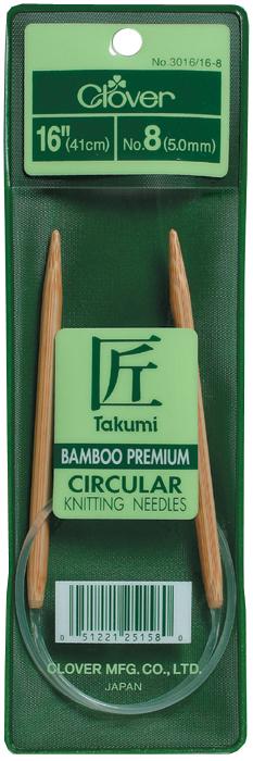 Takumi Bamboo Circular Knitting Needles 16-Size 8/5mm