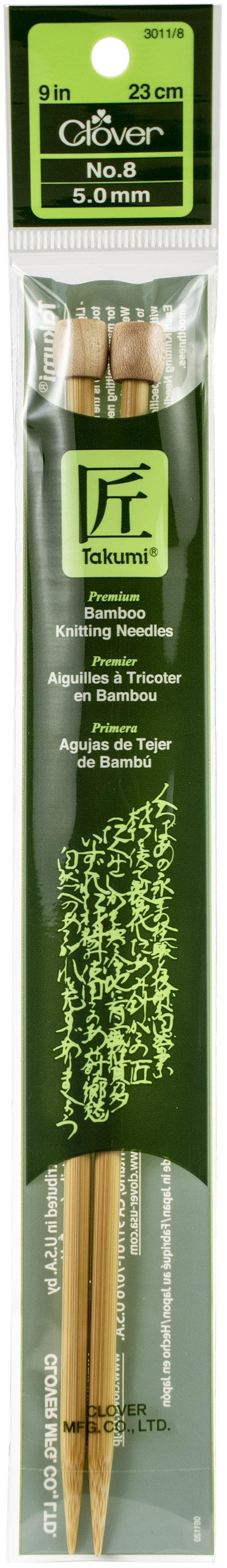 Takumi Bamboo Single Point Knitting Needles 9-Size 8/5mm