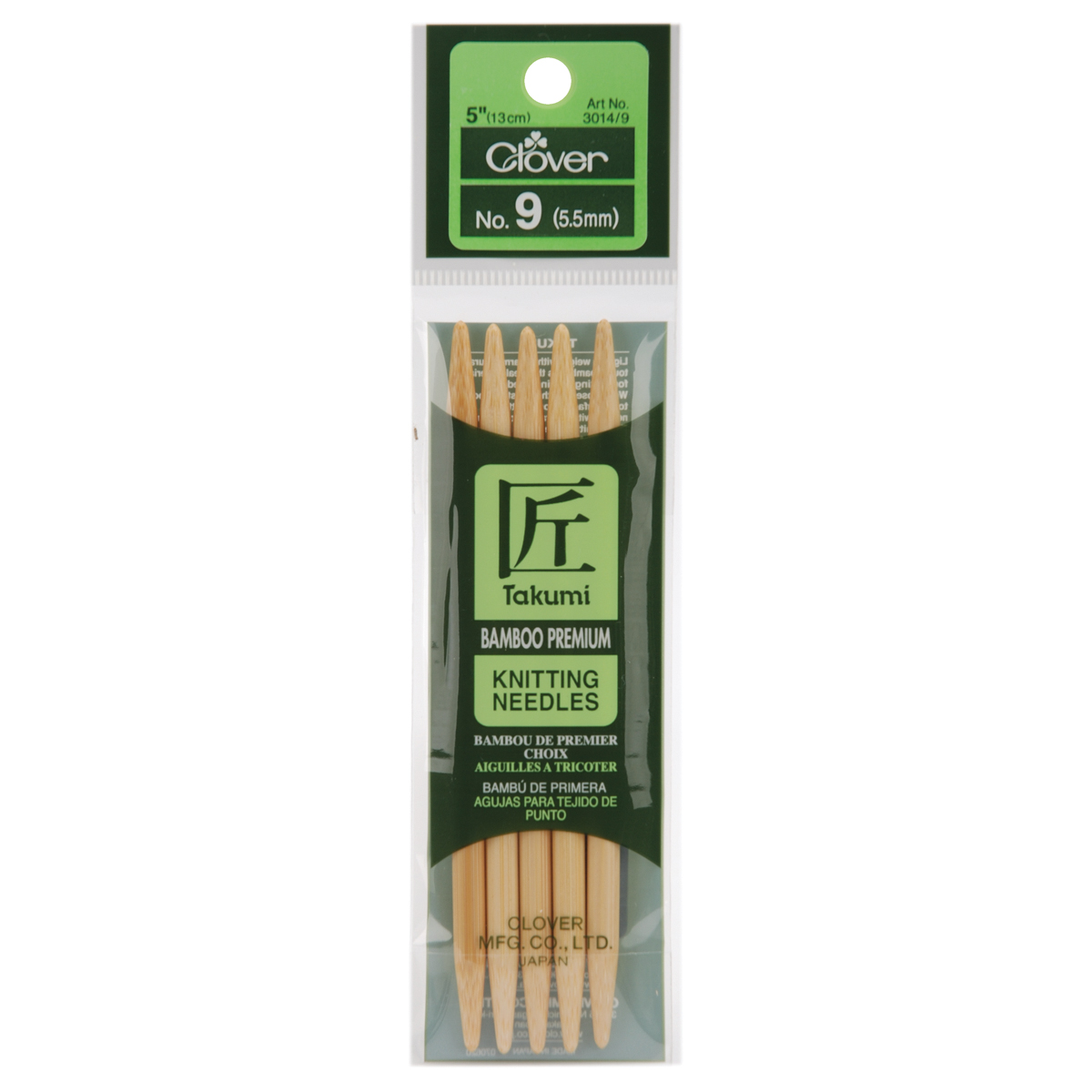 Takumi Bamboo Double Point Knitting Needles 5 5/Pkg-Size 9/5.5mm