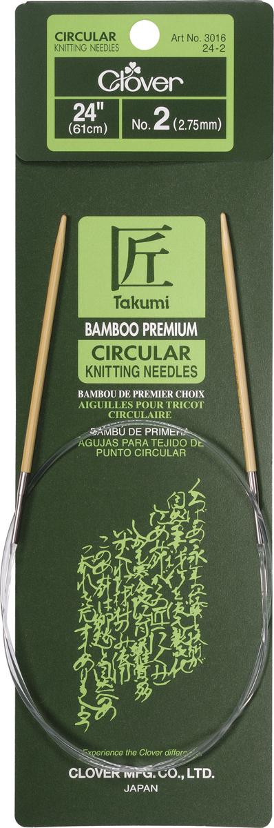 Takumi Bamboo Circular Knitting Needles 24-Size 2/2.75mm