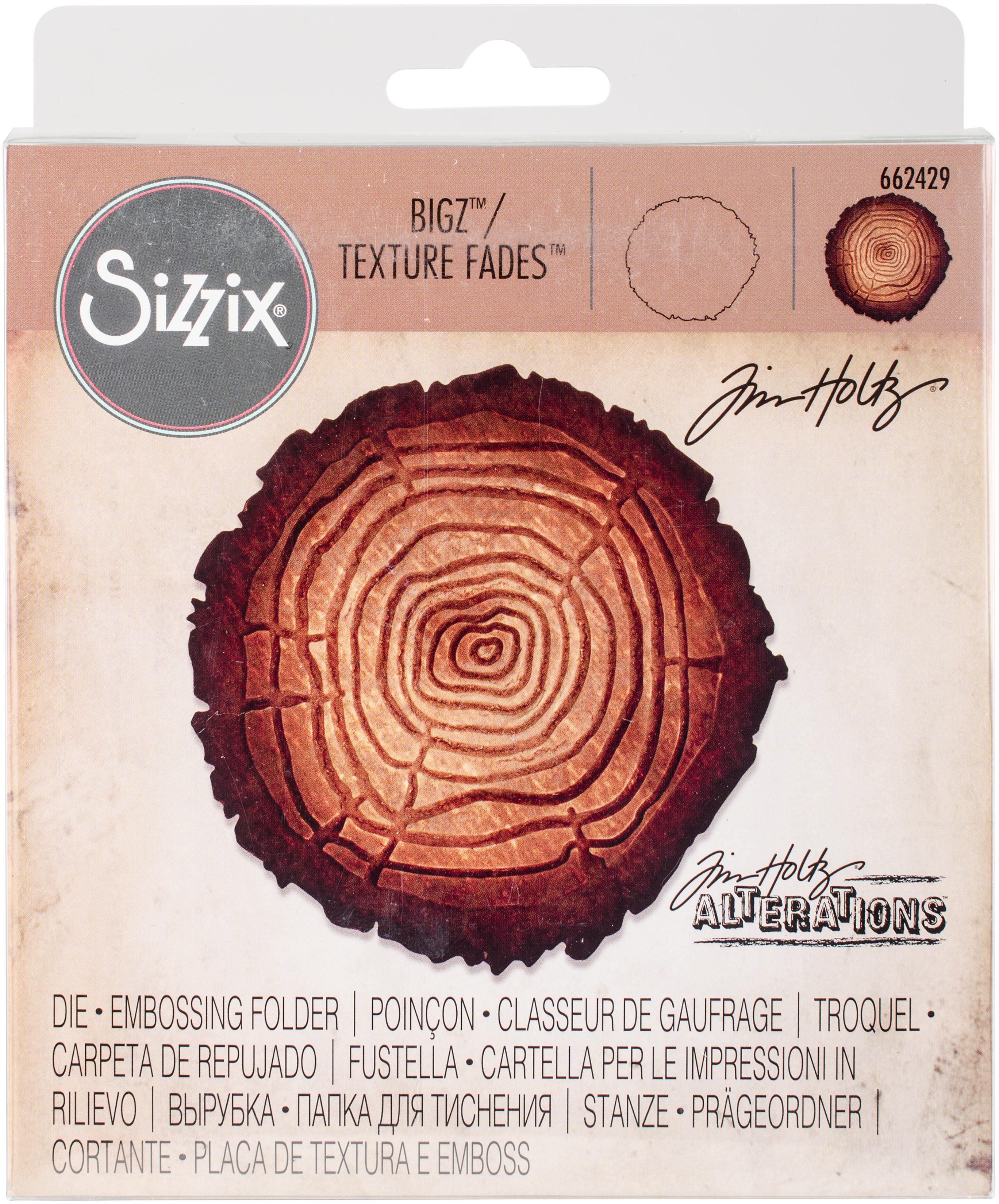 Sizzix Bigz Die W/A2 Texture Fades Folder By Tim Holtz-Tree Rings