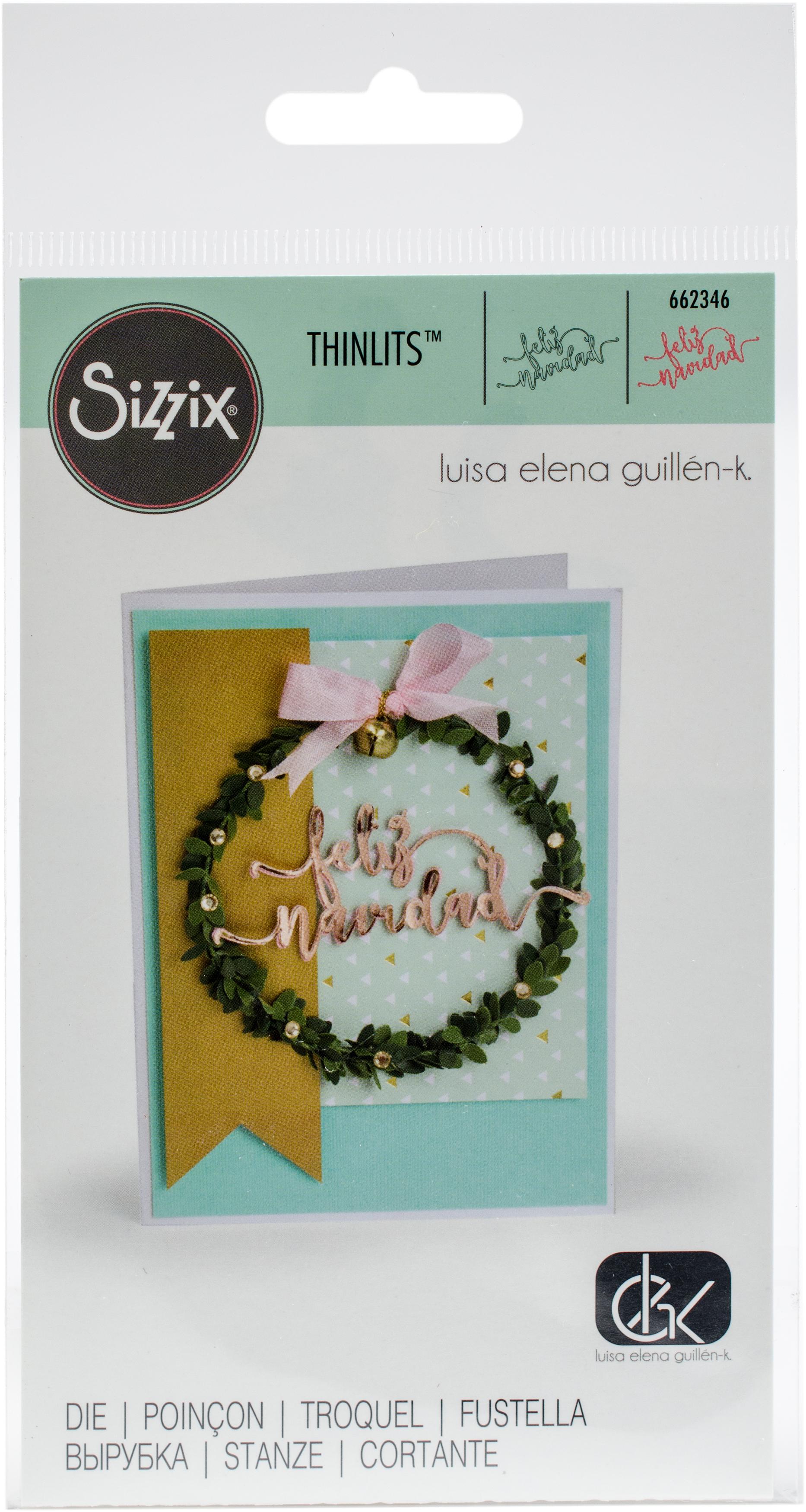 Sizzix Thinlits Dies By Luisa Elena Guillen-Feliz Navidad (Merry Christmas)