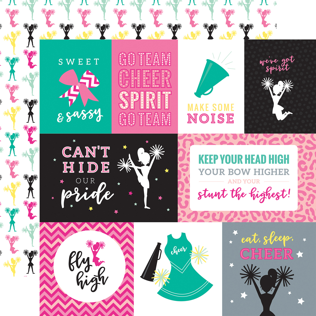 Cheer Double-Sided Cardstock 12X12-Journaling Cards