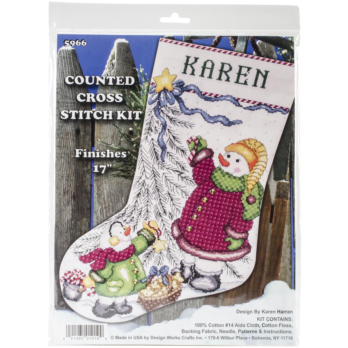 Christmas Tree Snowman counted cross stitch stocking kit