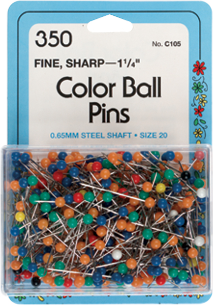 Collins Color Ball Pins 350/Pkg-Size 20