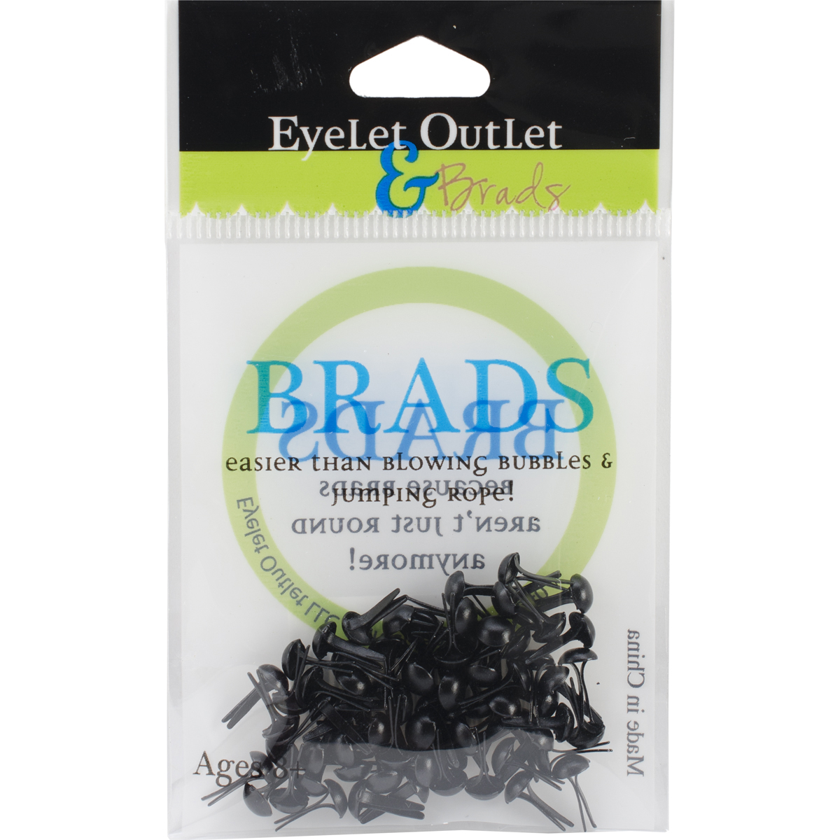 Eyelet Outlet Round Brads - Black,  4mm, 70/Pkg