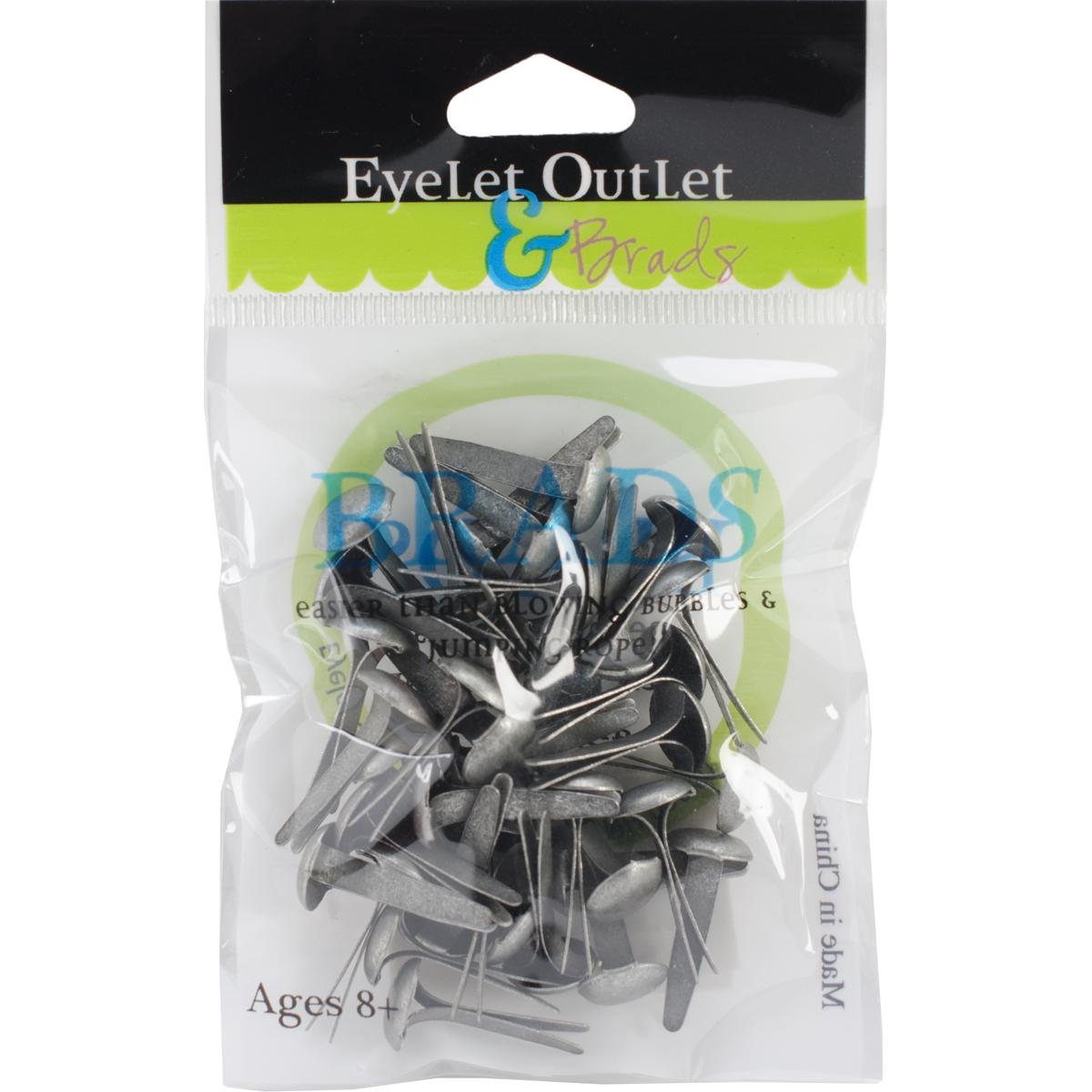 Eyelet Outlet Round Brads 8mm 40/Pkg-Brushed Silver