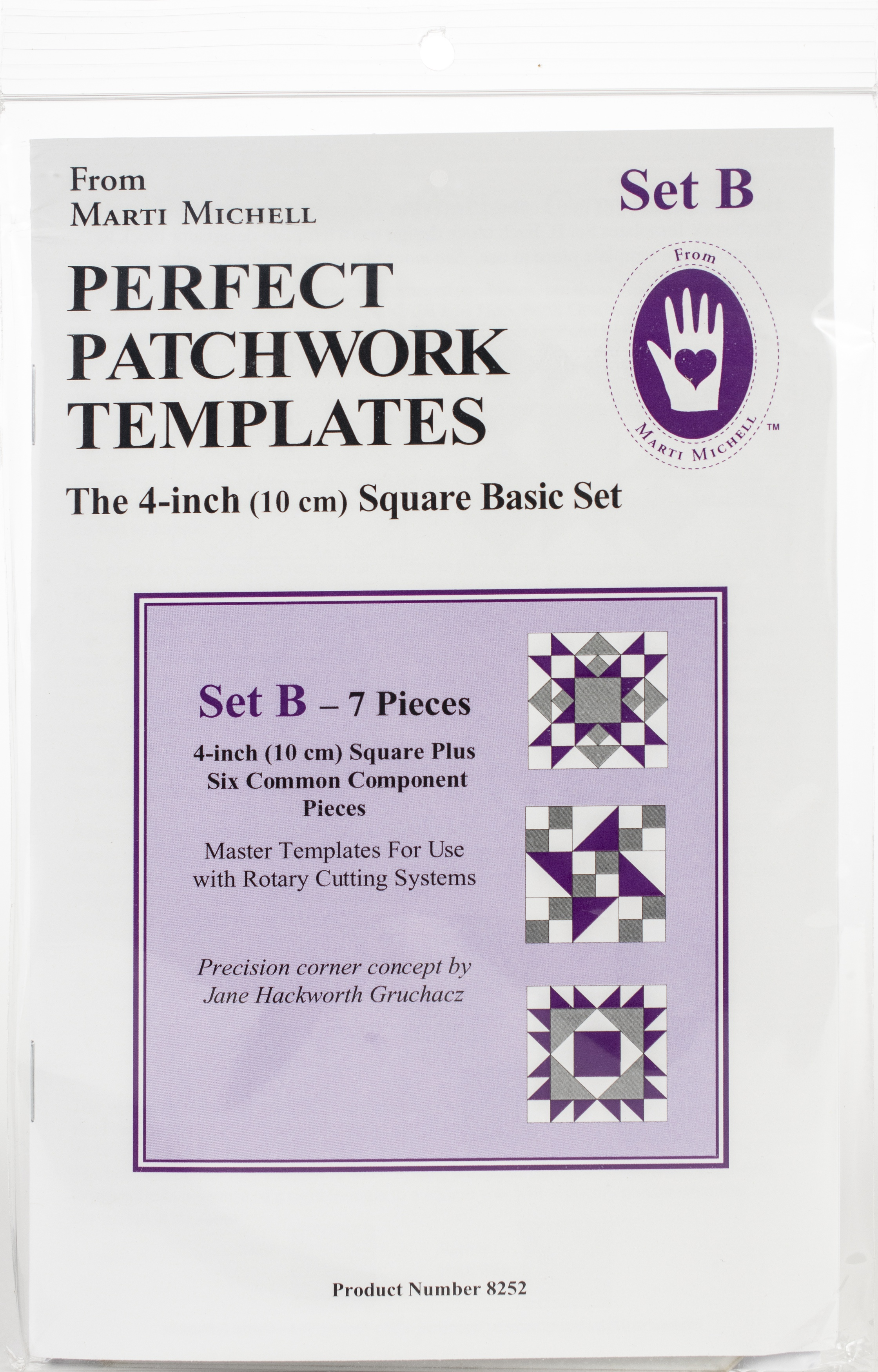 Marti Michell Perfect Patchwork Template-Set B - 4 Basic Square Set 7/Pkg