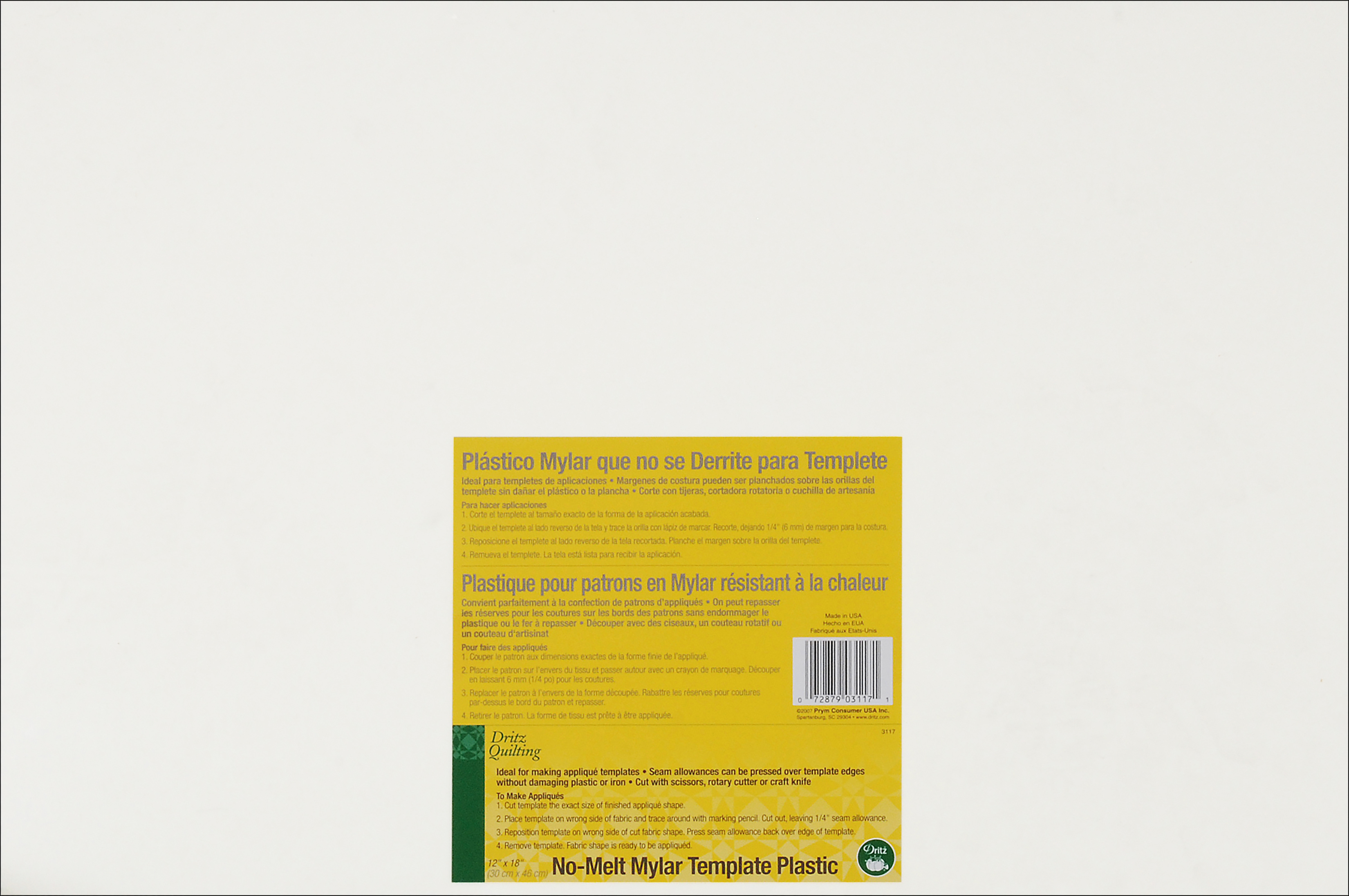Dritz Quilting No-Melt Mylar Plastic Template-12X8