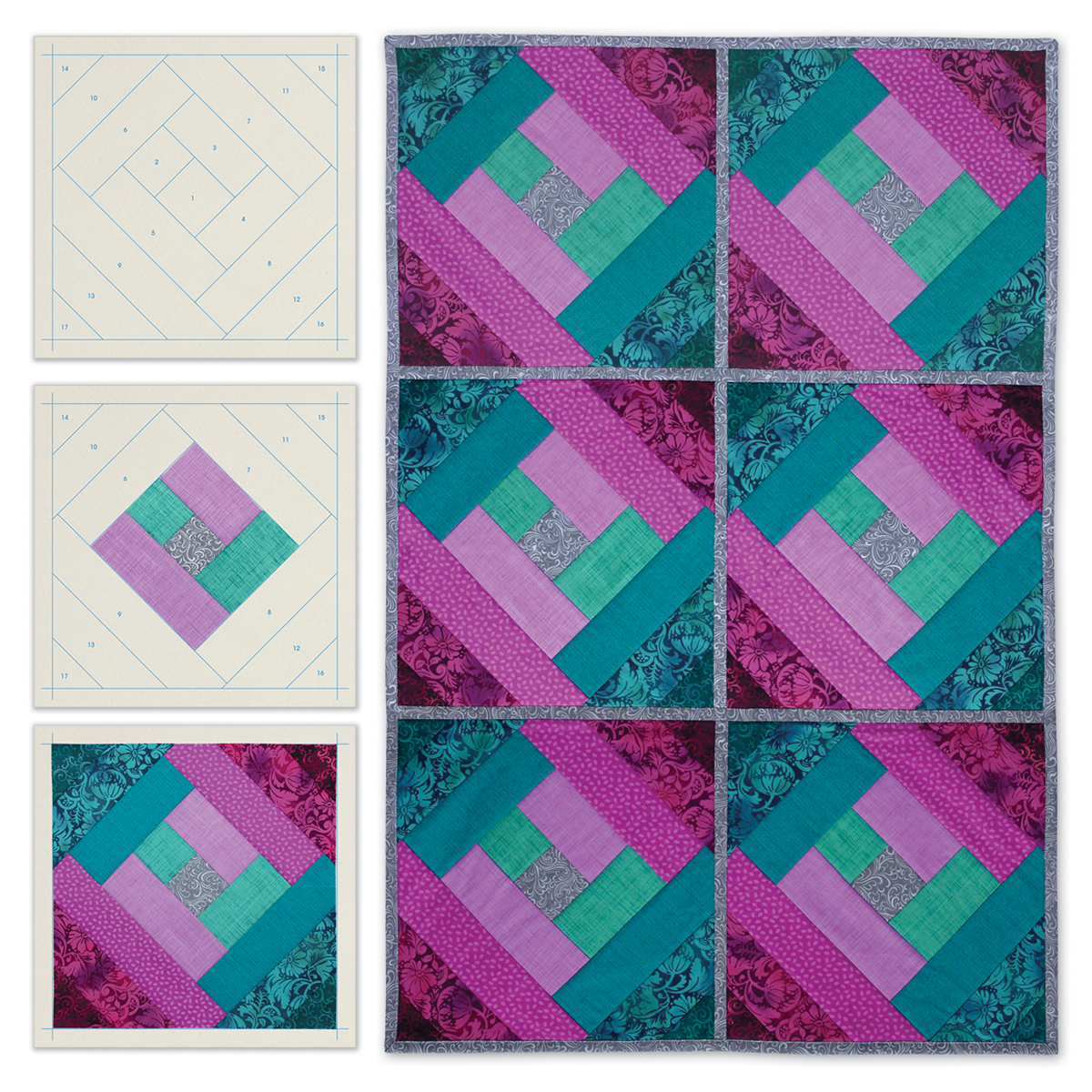 June Tailor Quilt As You Go Printed Quilt Blocks On Batting-London Labyrinth