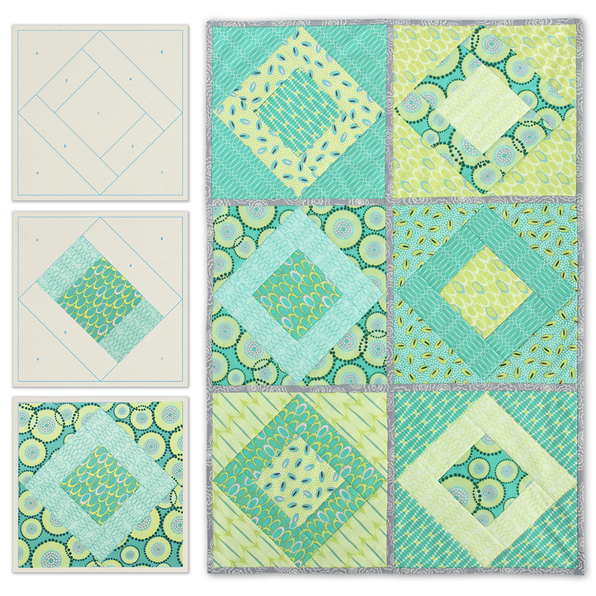 June Tailor Quilt As You Go Printed Quilt Blocks On Batting-Paris On Point