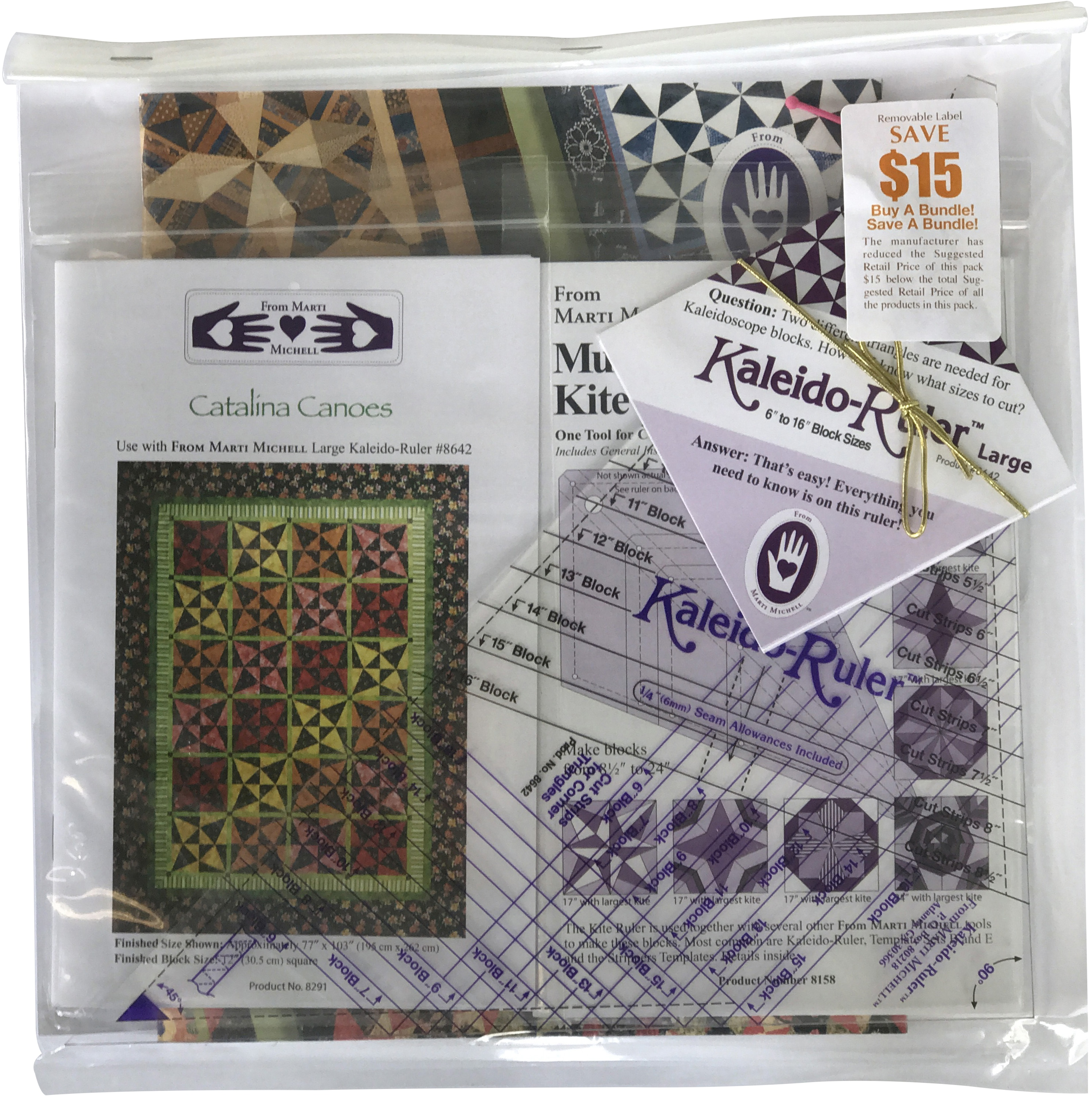 Marti Michell Perfect Patchwork Kaleidoscope Gift Set-Makes 6 To 16 Inch Block...