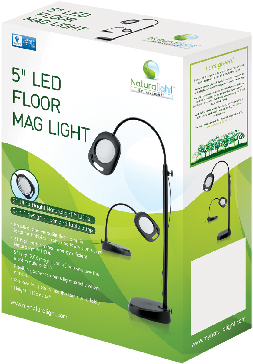 Daylight Naturalight LED 5 Floor Magnifying Light-Black FOB: MI