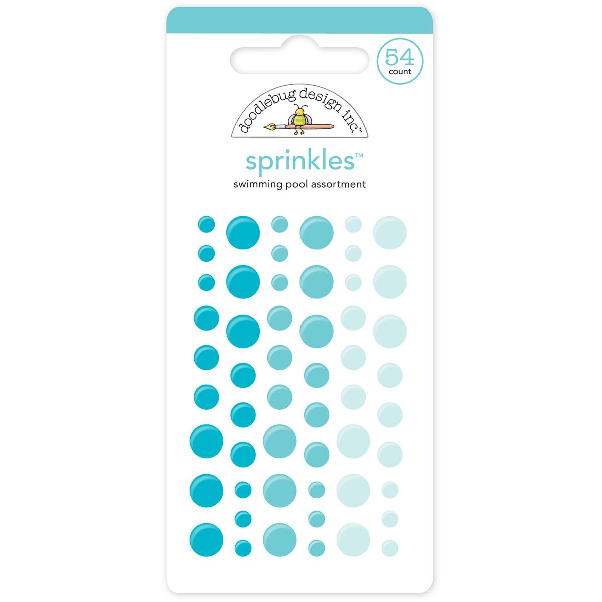 Doodlebug Sprinkles Adhesive Glossy Enamel Dots-Swimming Pool, 54/Pkg