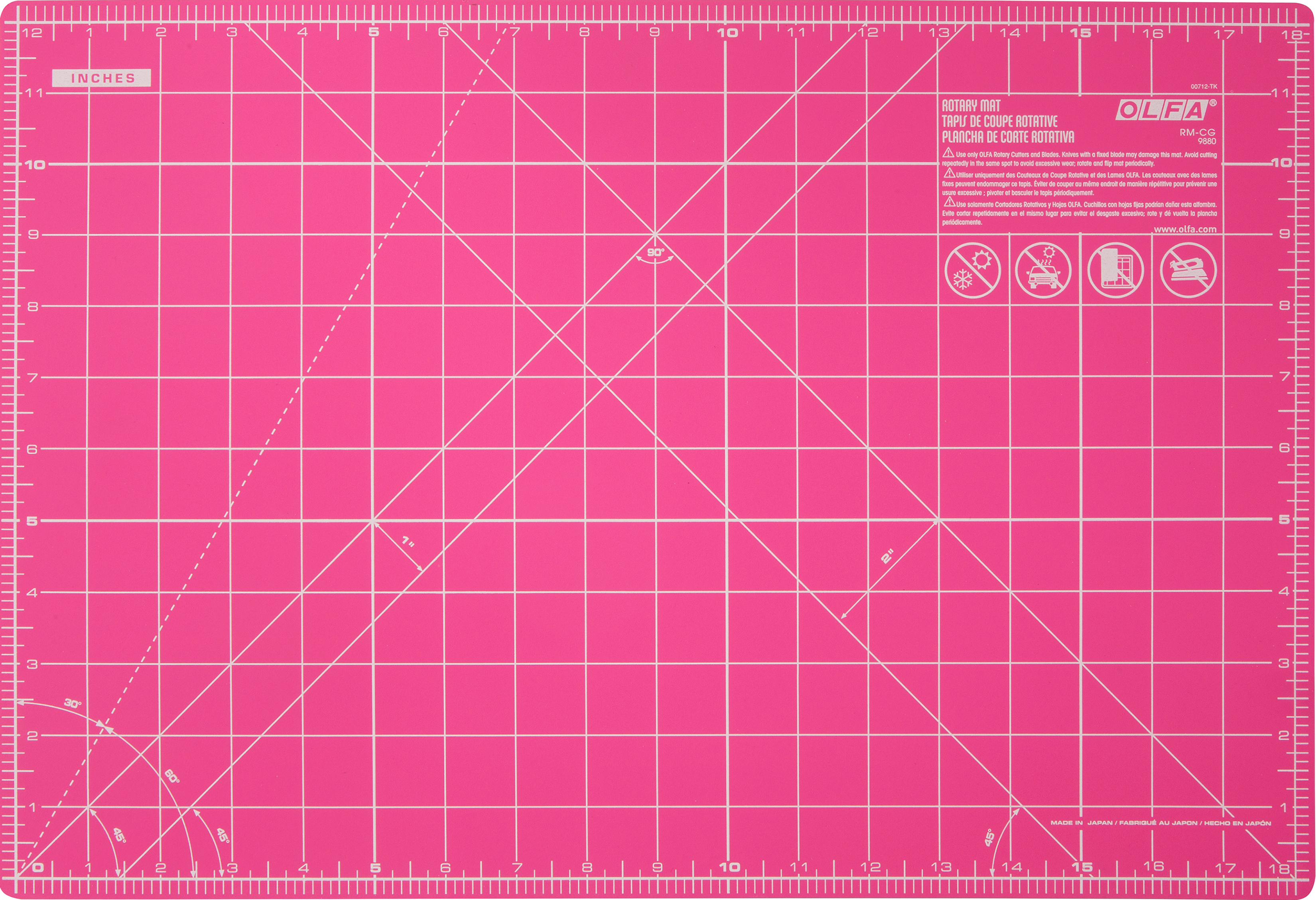OLFA Splash Gridded Cutting Mat 12X18-Fairy Floss Pink