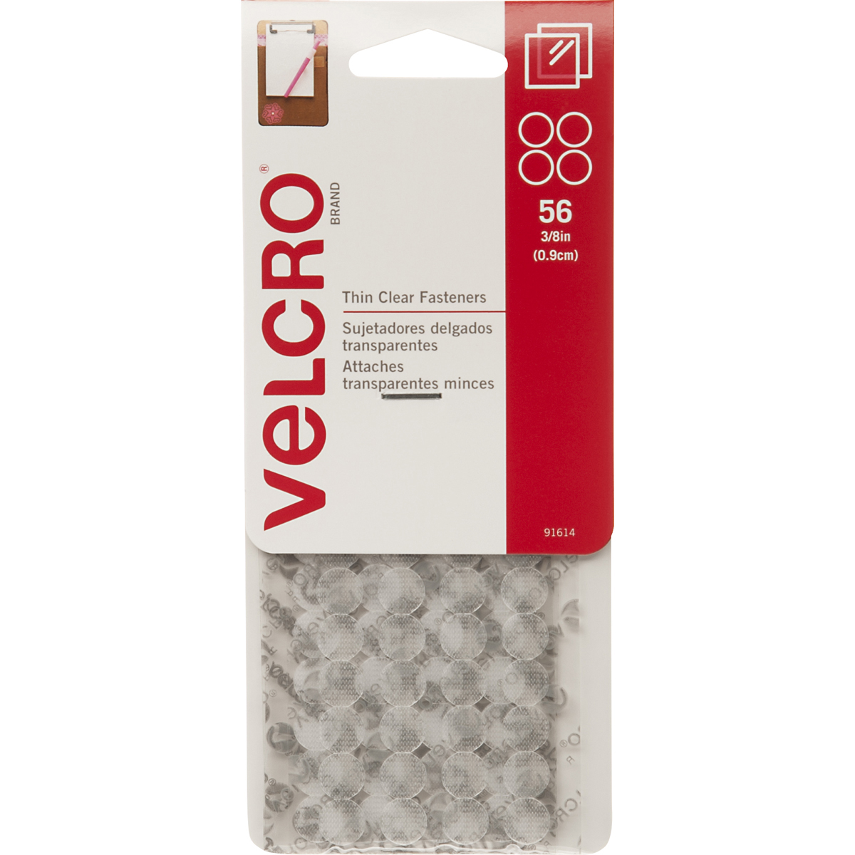 VELCRO(R) Brand Thin Fasteners Dots .375 56/Pkg-Clear
