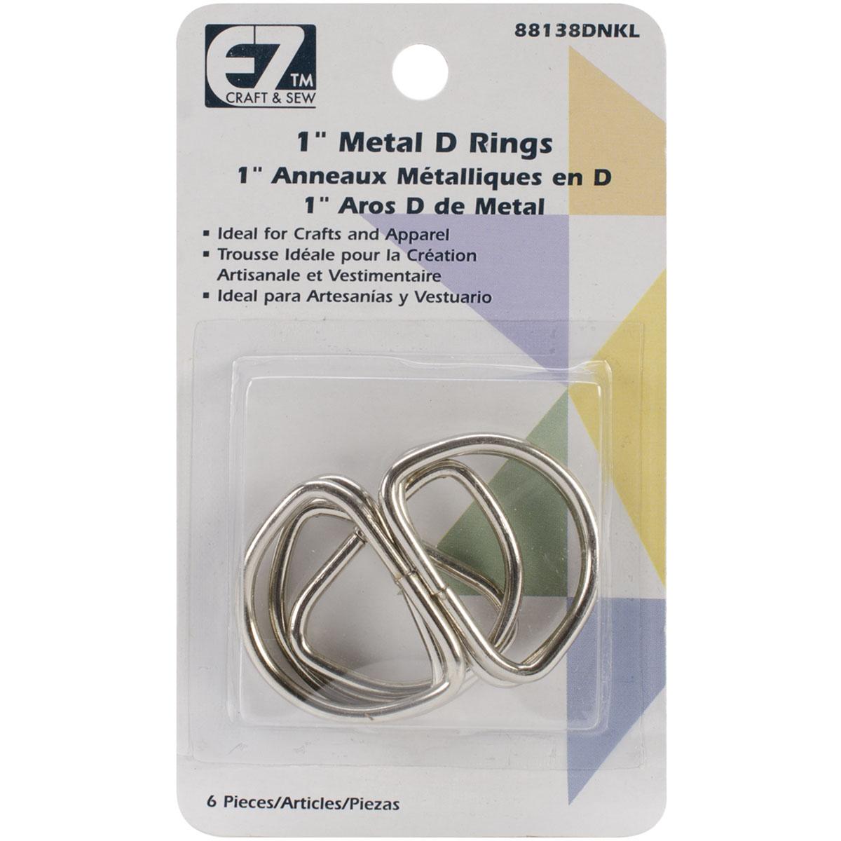 EZ Quilting D-Rings 1 6/Pkg-Nickel