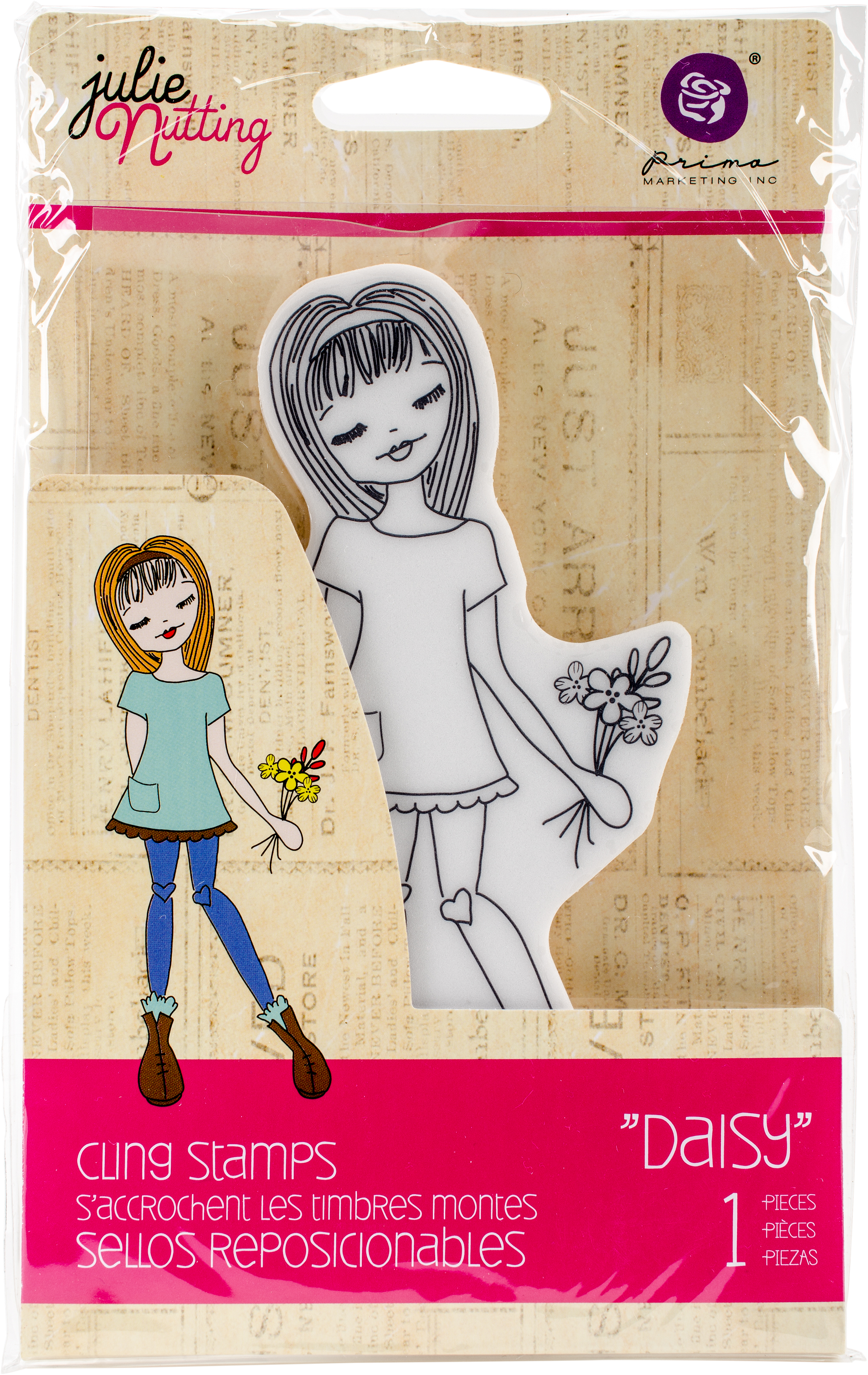 Prima Marketing Julie Nutting Mixed Media Cling Rubber Stamp-Daisy 3.5X8