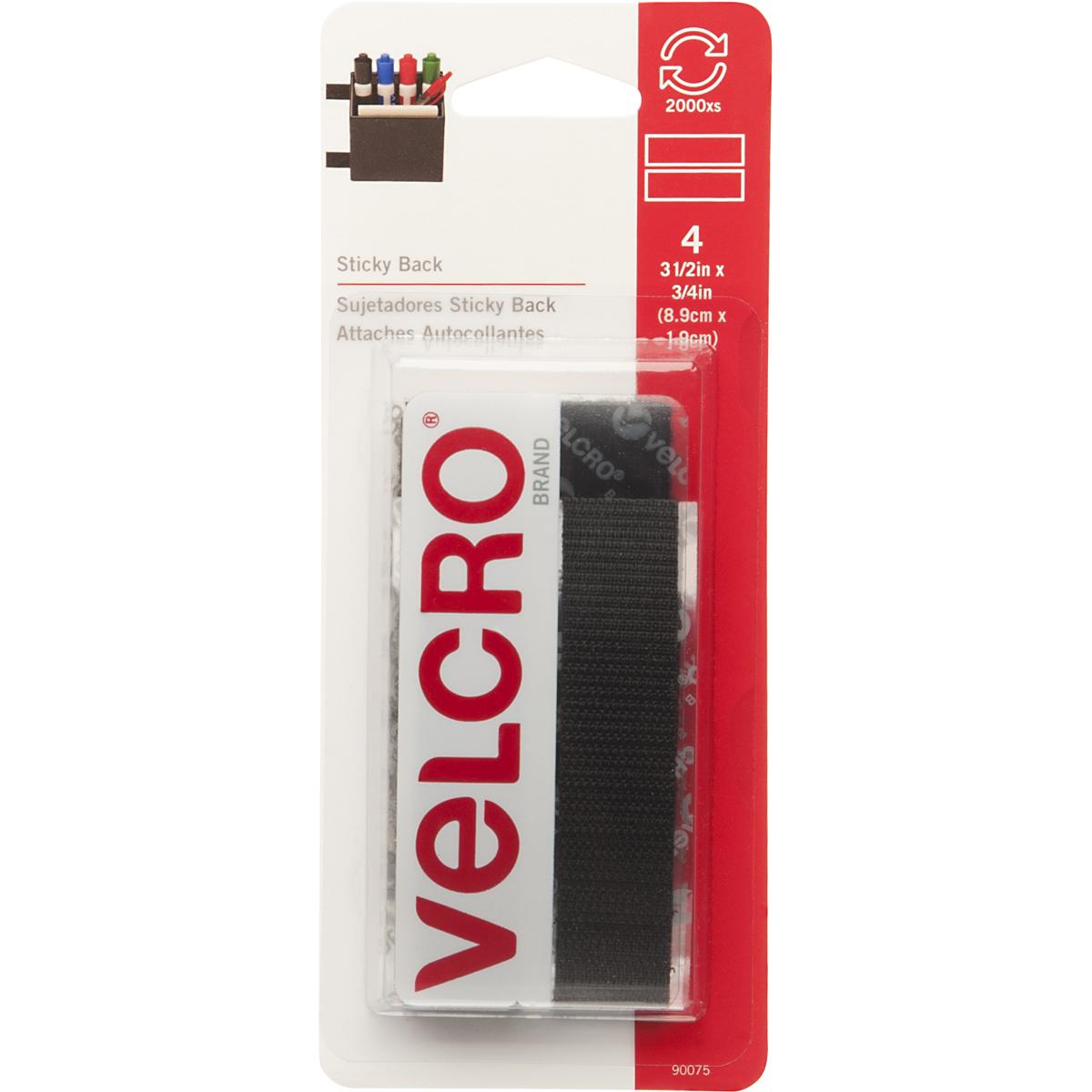 VELCRO Brand Sticky Back Tape .75X3.5 4/Pkg-Black