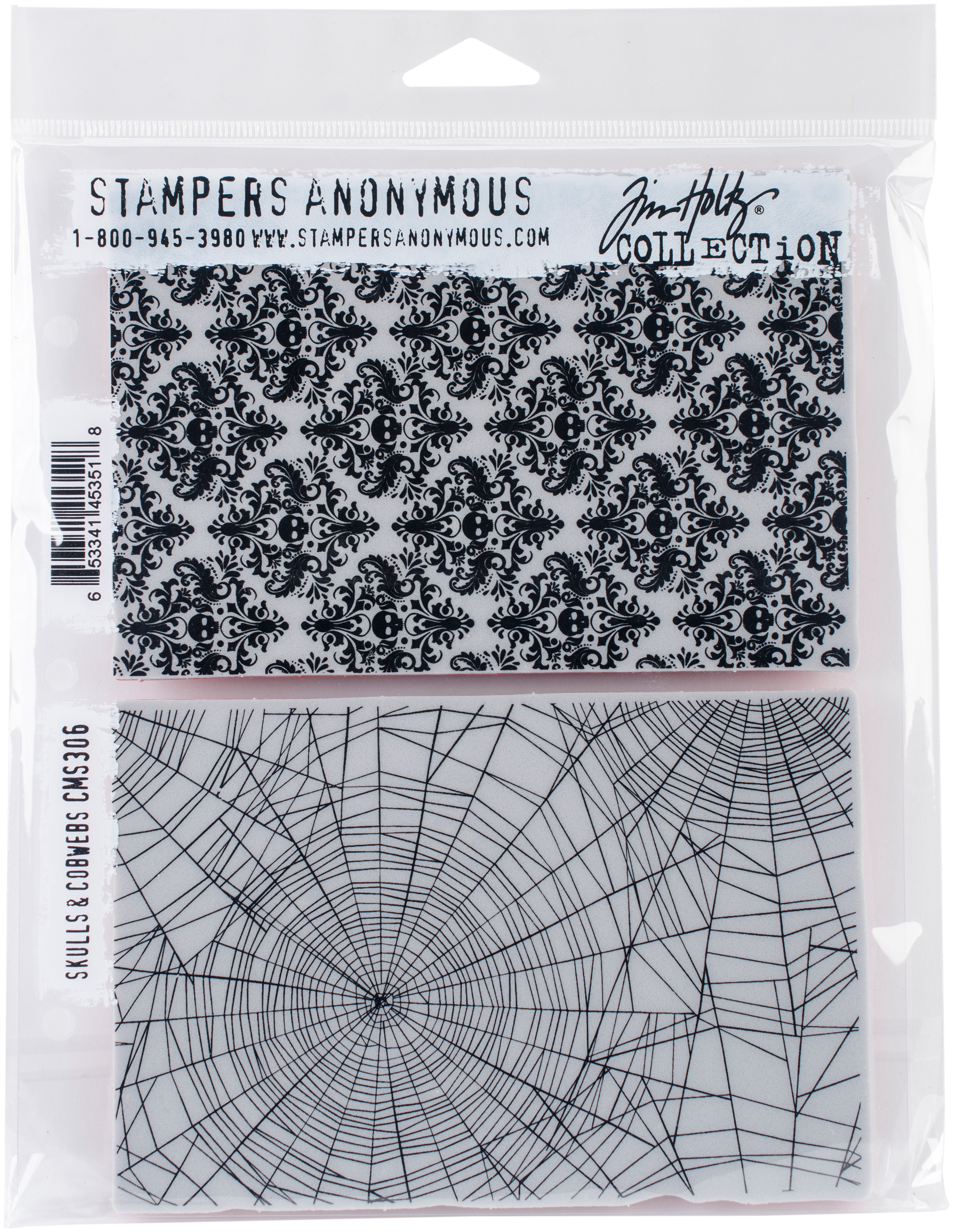 Tim Holtz Cling Stamps 7X8.5-Skulls & Cobwebs