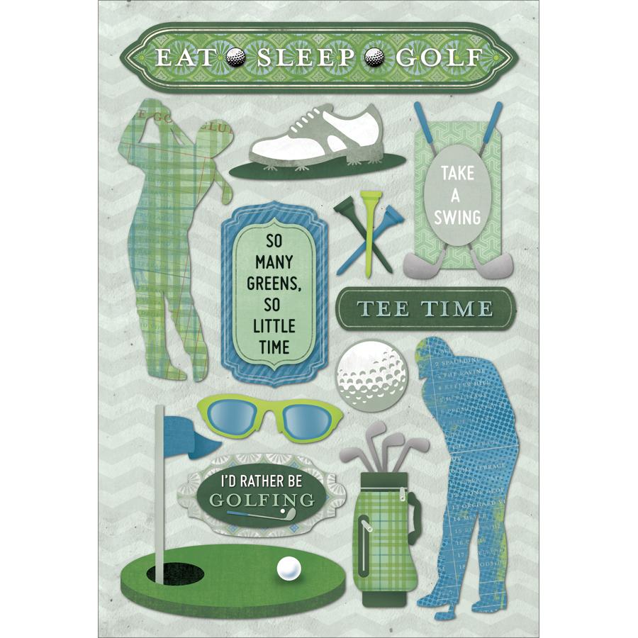 Eat, Sleep-Golf Crdstk Stickers
