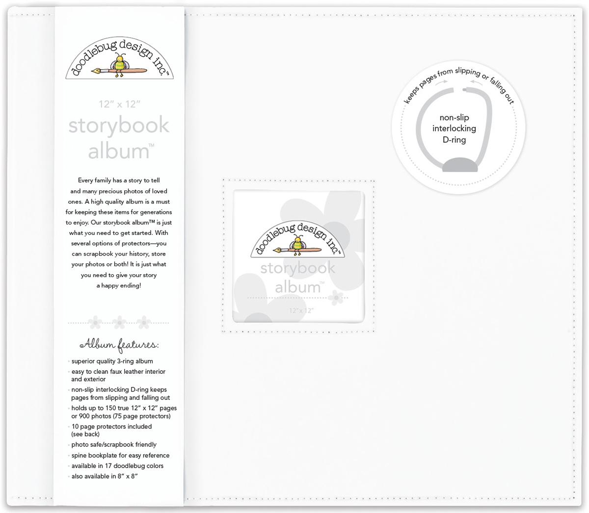 Doodlebug Storybook D-Ring Album 12X12-Lily White