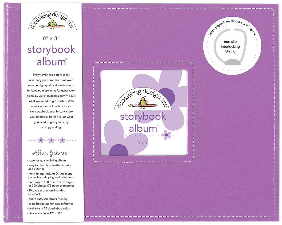 Doodlebug Storybook D-Ring Album 8X8-Lilac