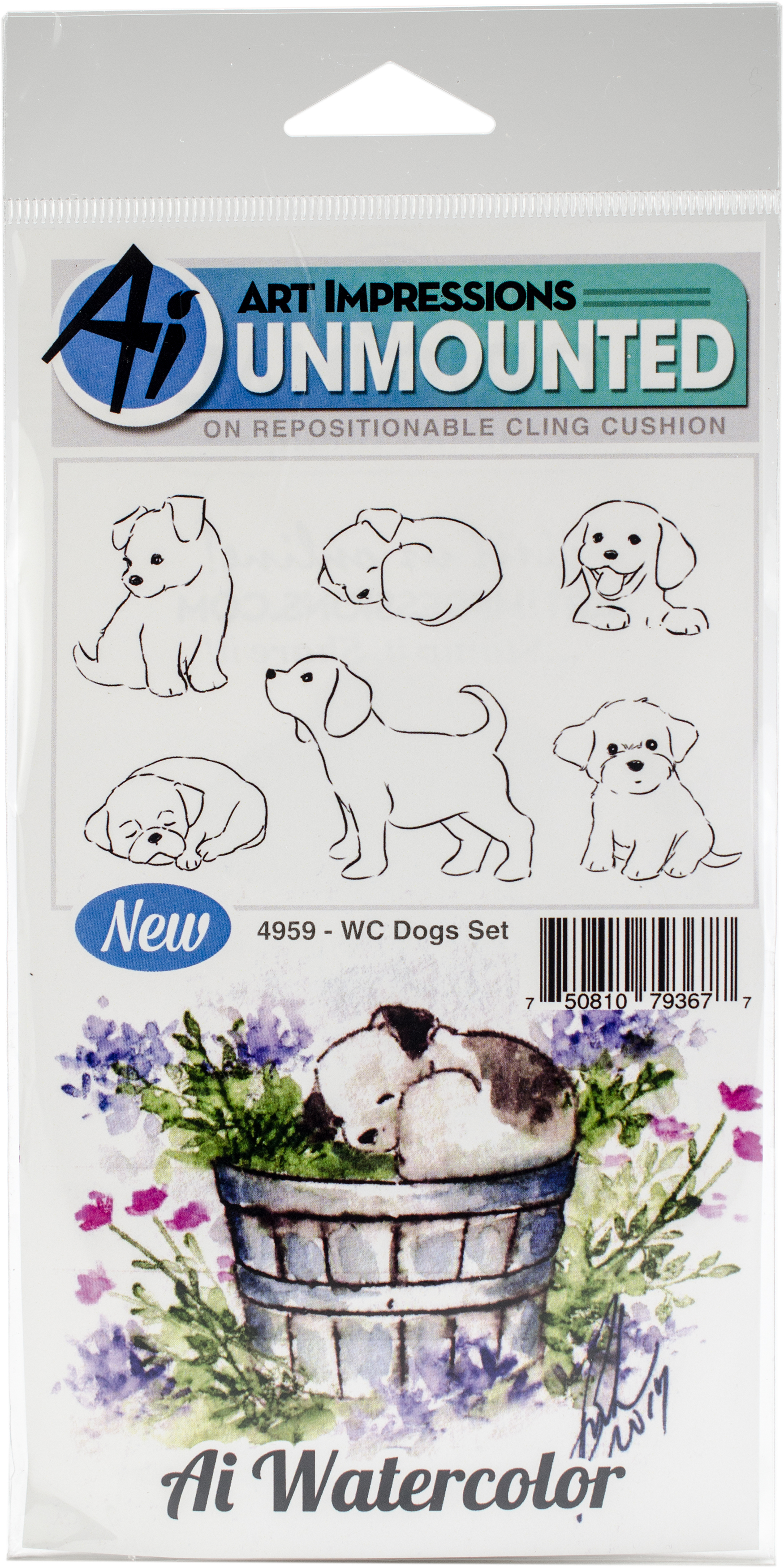 Art Impressions Watercolor Cling Rubber Stamps -Dogs