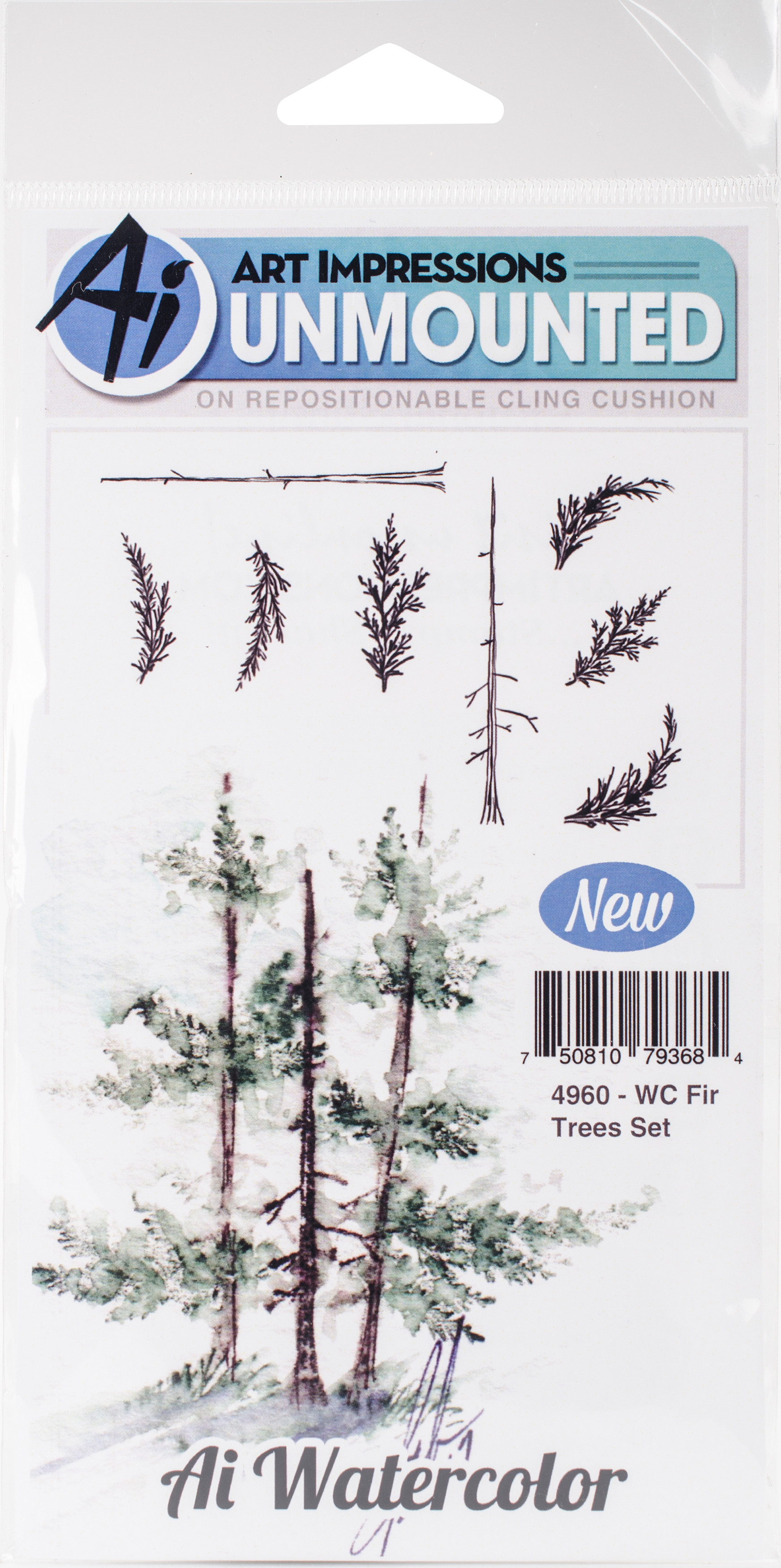 AI Watercolor Stamps - Fir Trees (4960)