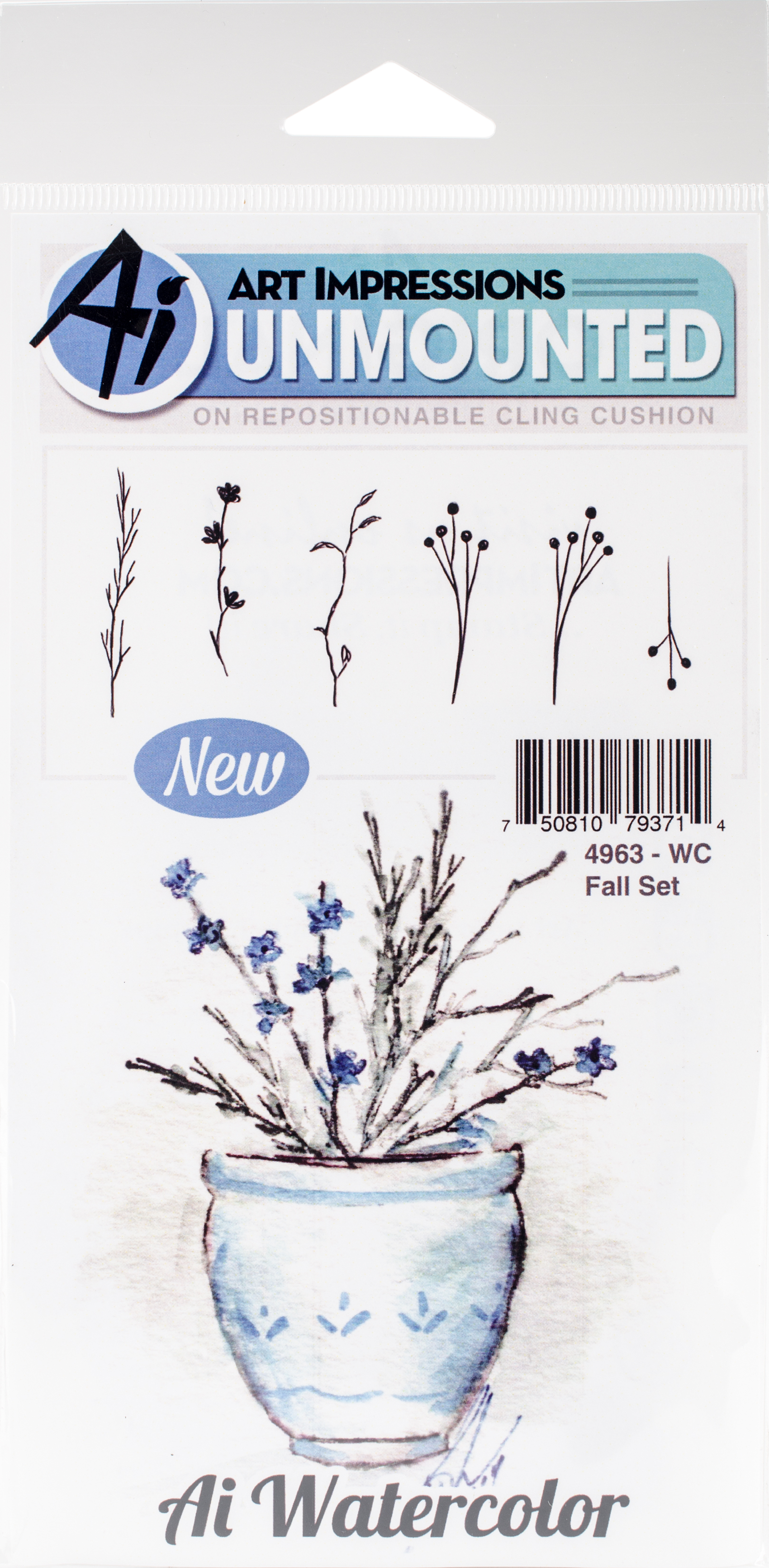 Art Impressions Watercolor Cling Rubber Stamps -Fall