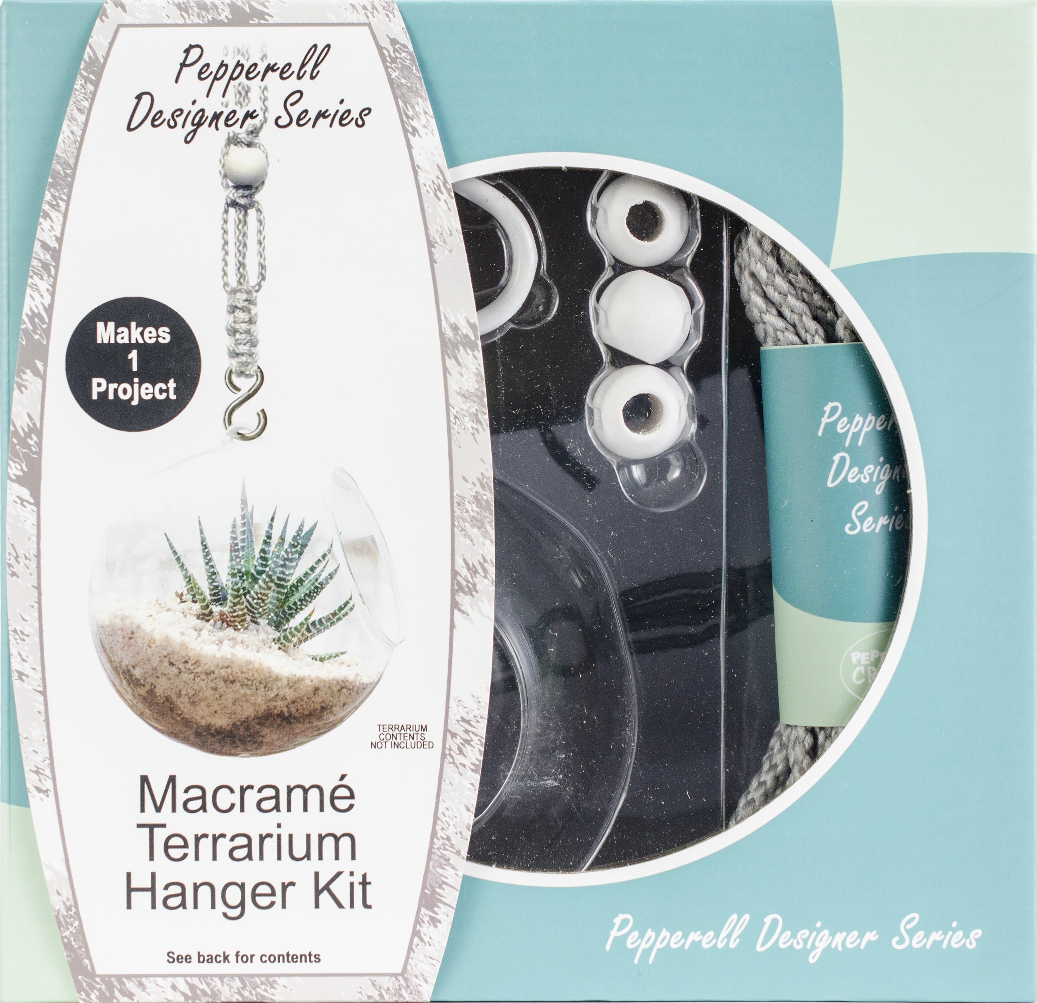 Pepperell Designer Macrame Hanging Terrarium Kit-Gray