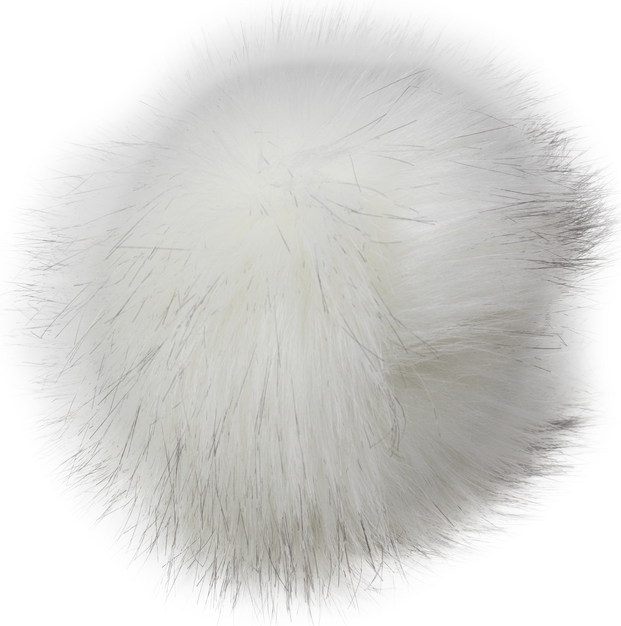 Faux Fur Pom With Loop-White/Black