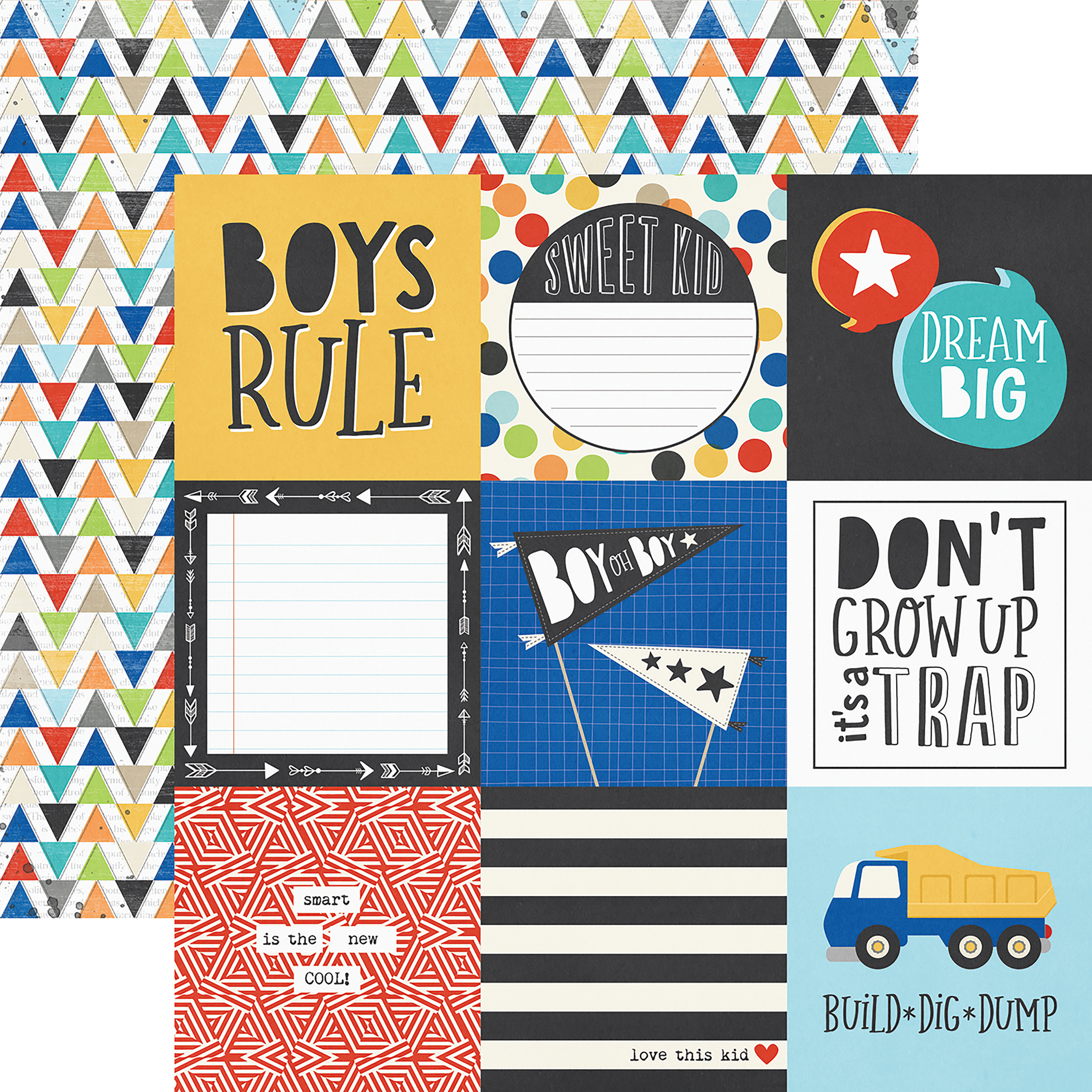 Lil' Dude Double-Sided Cardstock 12X12-4X4 Elements