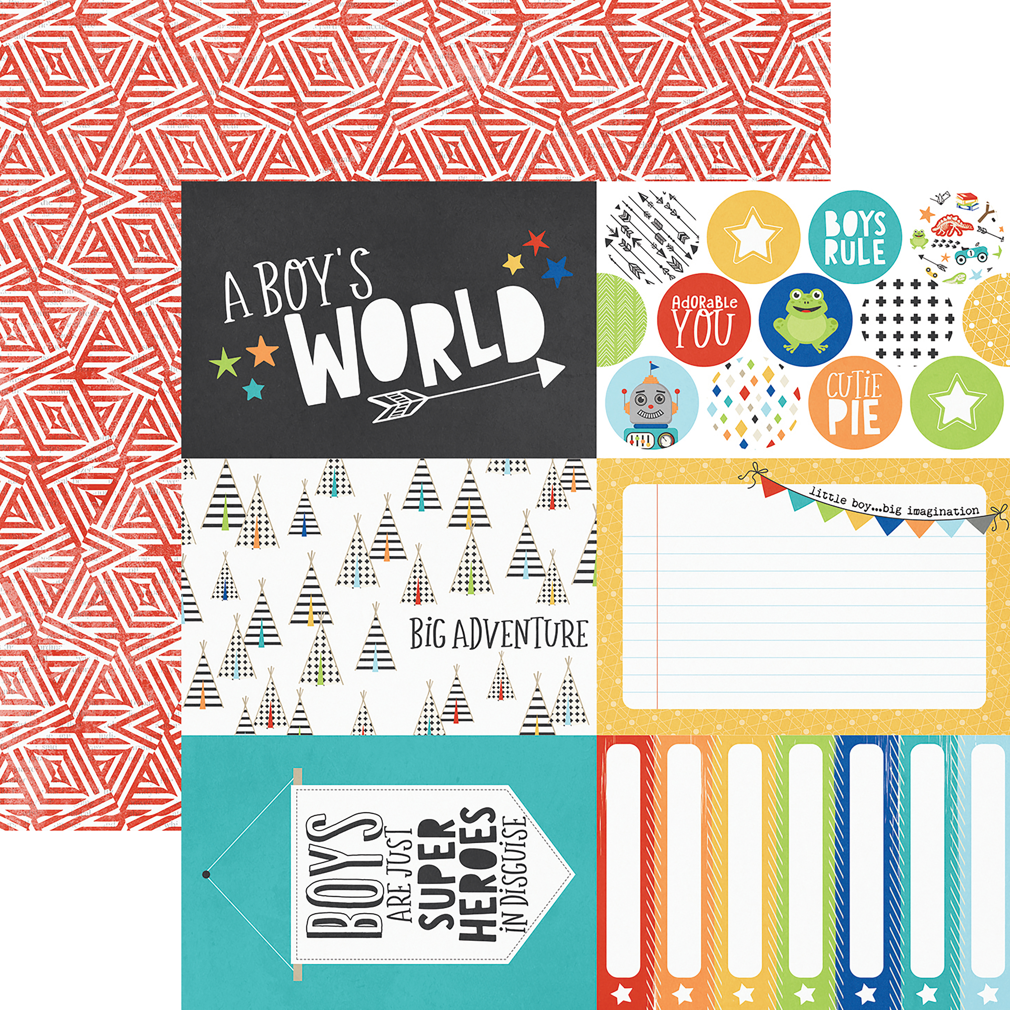 Lil' Dude Double-Sided Cardstock 12X12-4X6 Elements