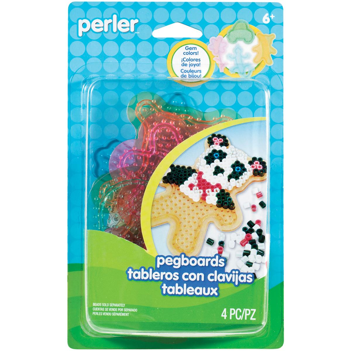 Perler Pegboards 4/Pkg-Assorted Clear Gem