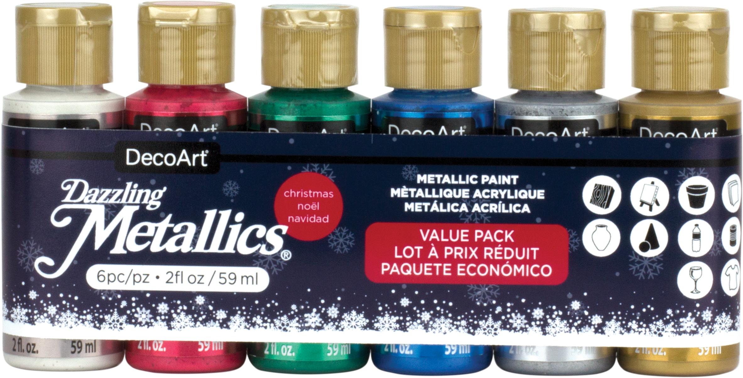 DecoArt Dazzling Metallics Value Pack 6/Pkg-Christmas
