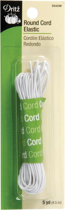 Dritz Round Cord Elastic White 5Yd