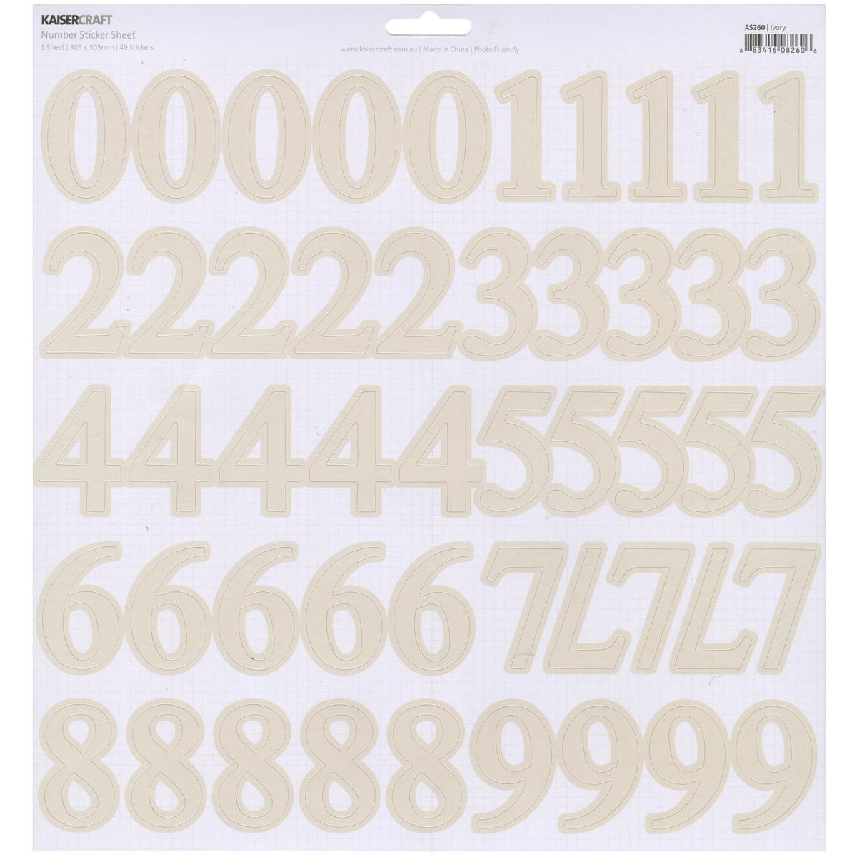 Ivory 12X12 Number Sticker Sheet