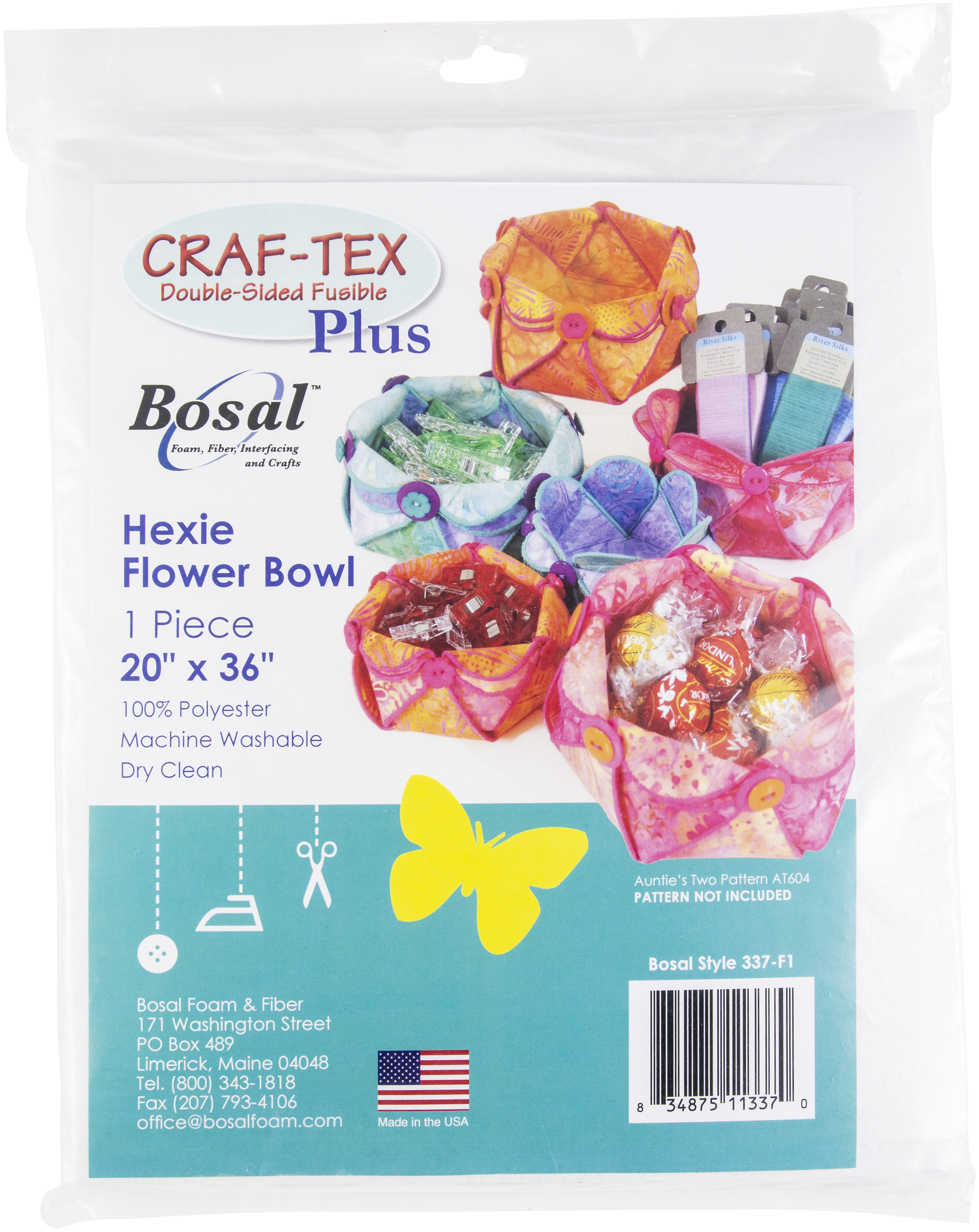 Bosal Craf-Tex Plus Double Sided Fusible Stabilizer-Hexie Flower Bowl 20X36