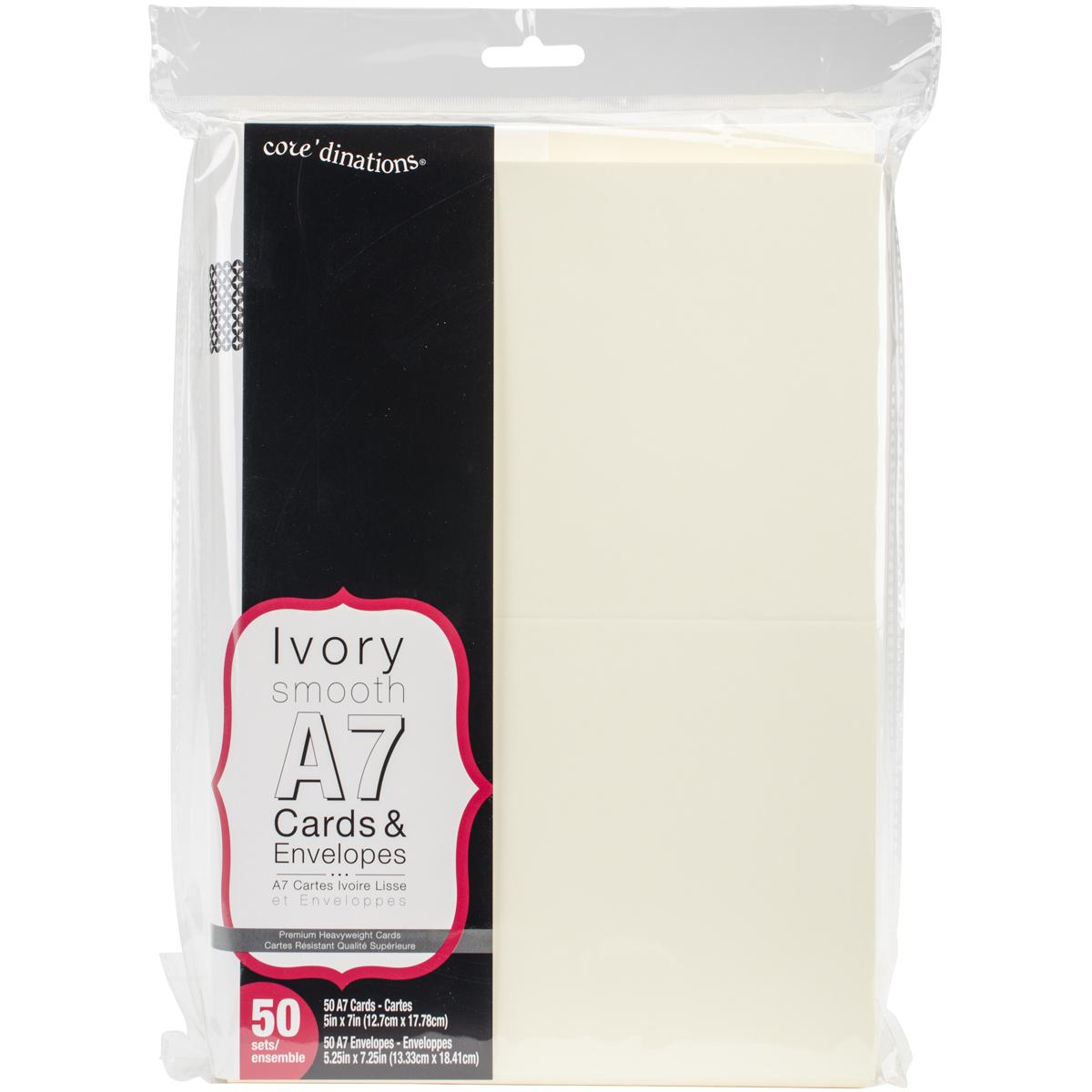 Darice Heavyweight A7 Cards/Envelopes (5.25X7.25) 50/Pkg-Ivory