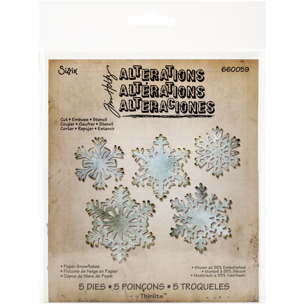 Sizzix Thinlits Dies By Tim Holtz 5/Pkg-Paper Snowflakes