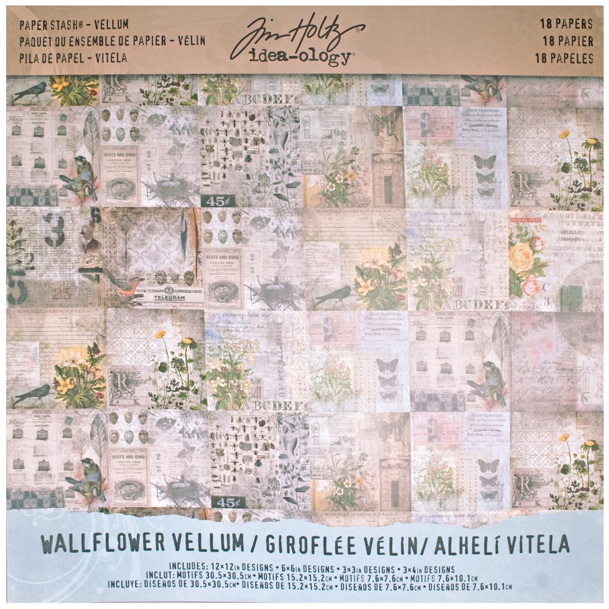 Idea-Ology Vellum Paper Stash 12X12 18/Pkg-Wallflower