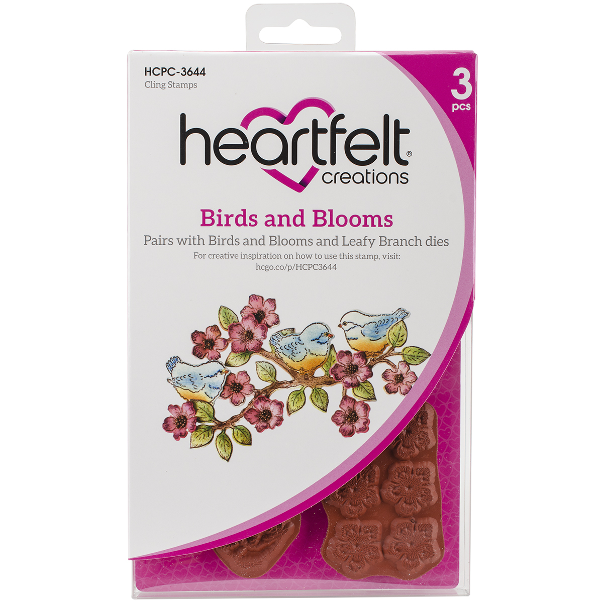 Heartfelt Creations Cling Rubber Stamp  and die Set 5X6.5-Birds & Blooms