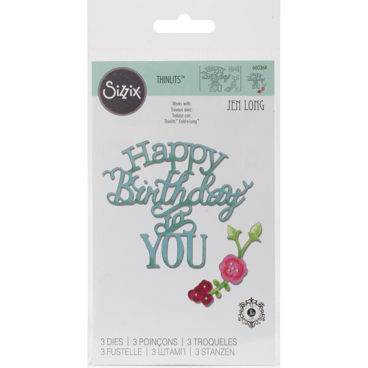 Sizzix Thinlits Phrase Dies - Happy Birthday To You (Jen Long)